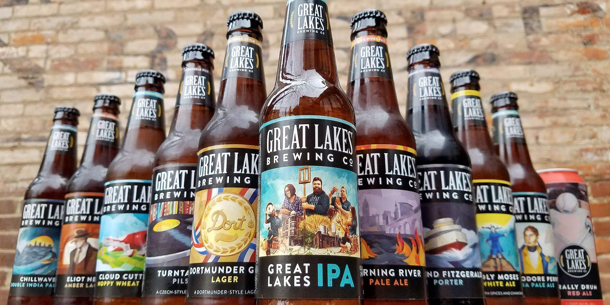Lineup of bottled beers offered by Great Lakes Brewing Co.