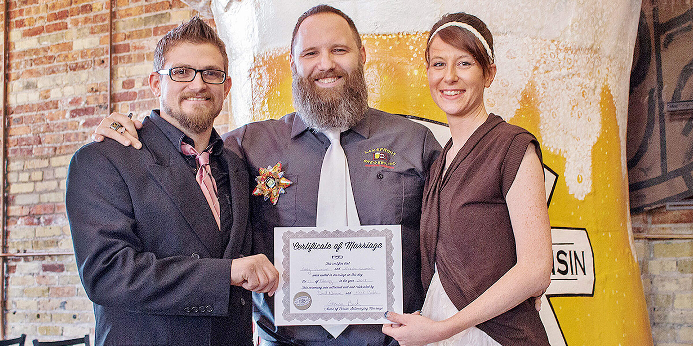 With a proper marriage license, Lakefront Brewery is offering couples with a lovely, quaint, yet professional ceremony for free on Valentine's Day.