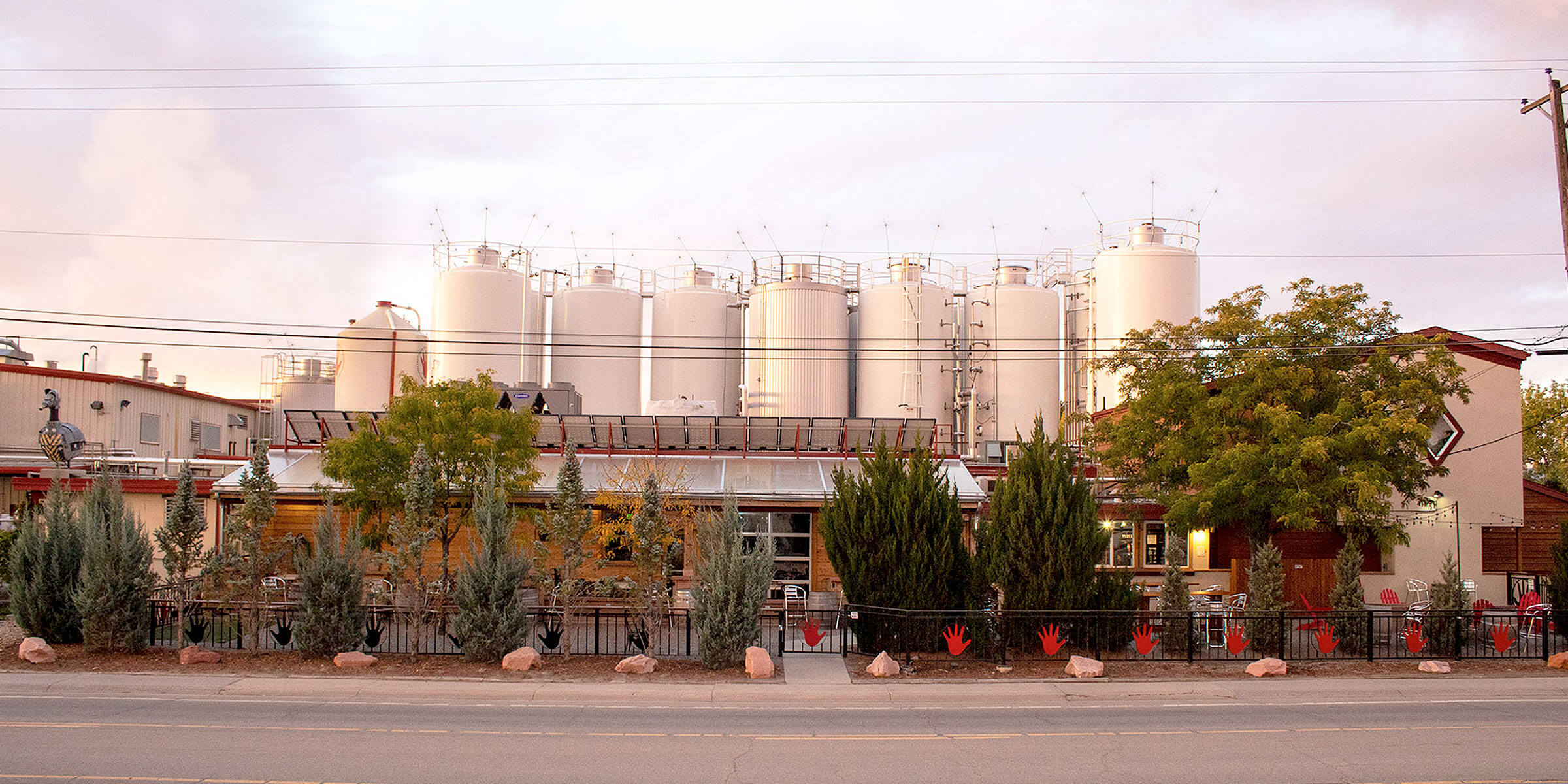 Outside the brewery at Left Hand Brewing Company taproom in Longmont, Colorado