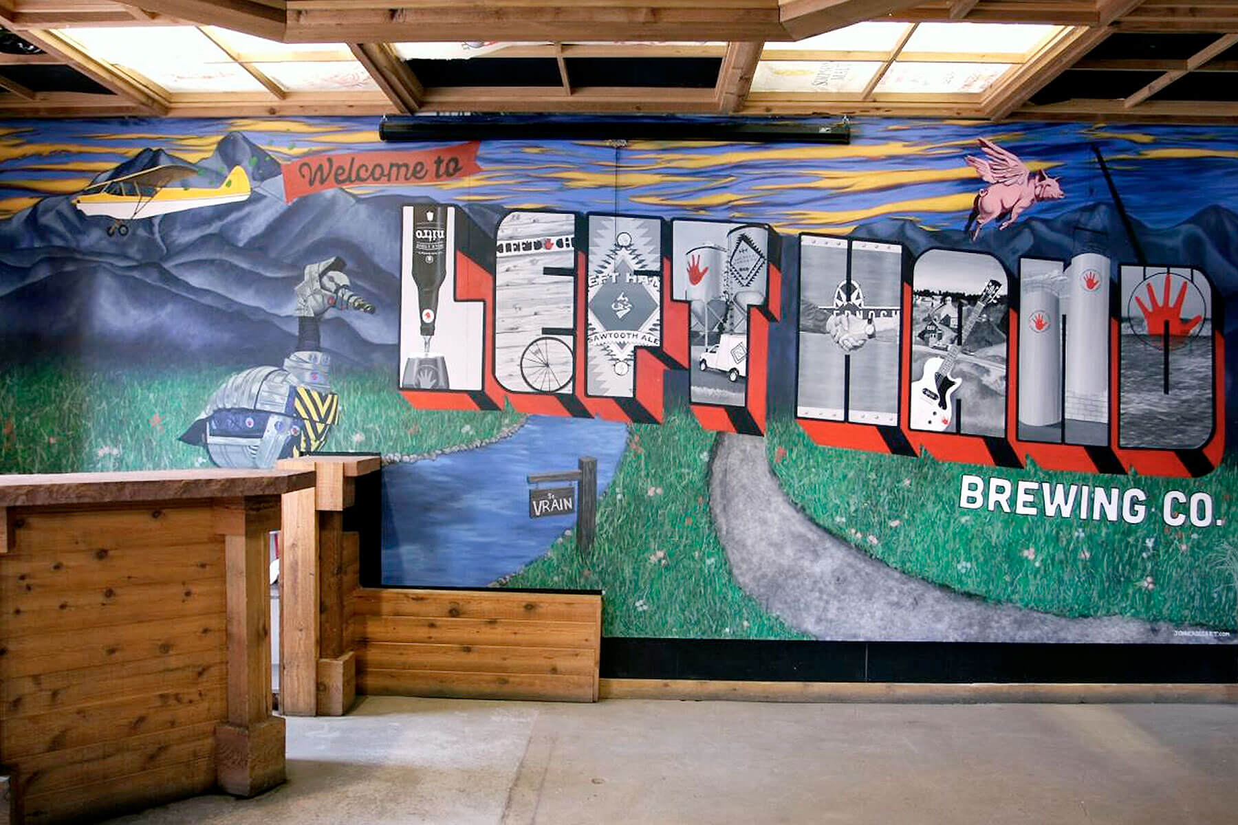Inside the Left Hand Brewing Company taproom in Longmont, Colorado