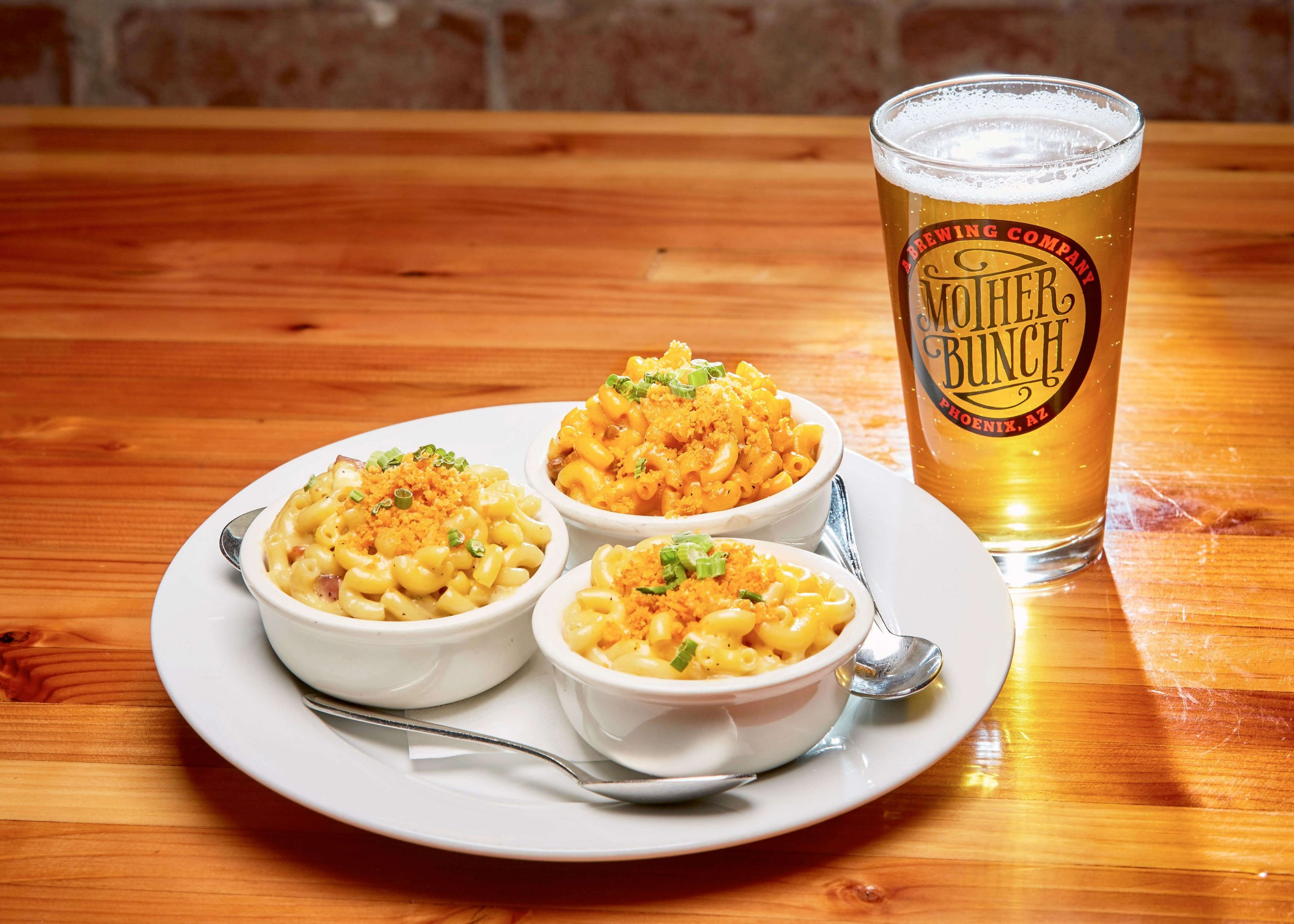 Triple mac 'n cheese and beer at Mother Brunch Brewing in Phoenix, Arizona