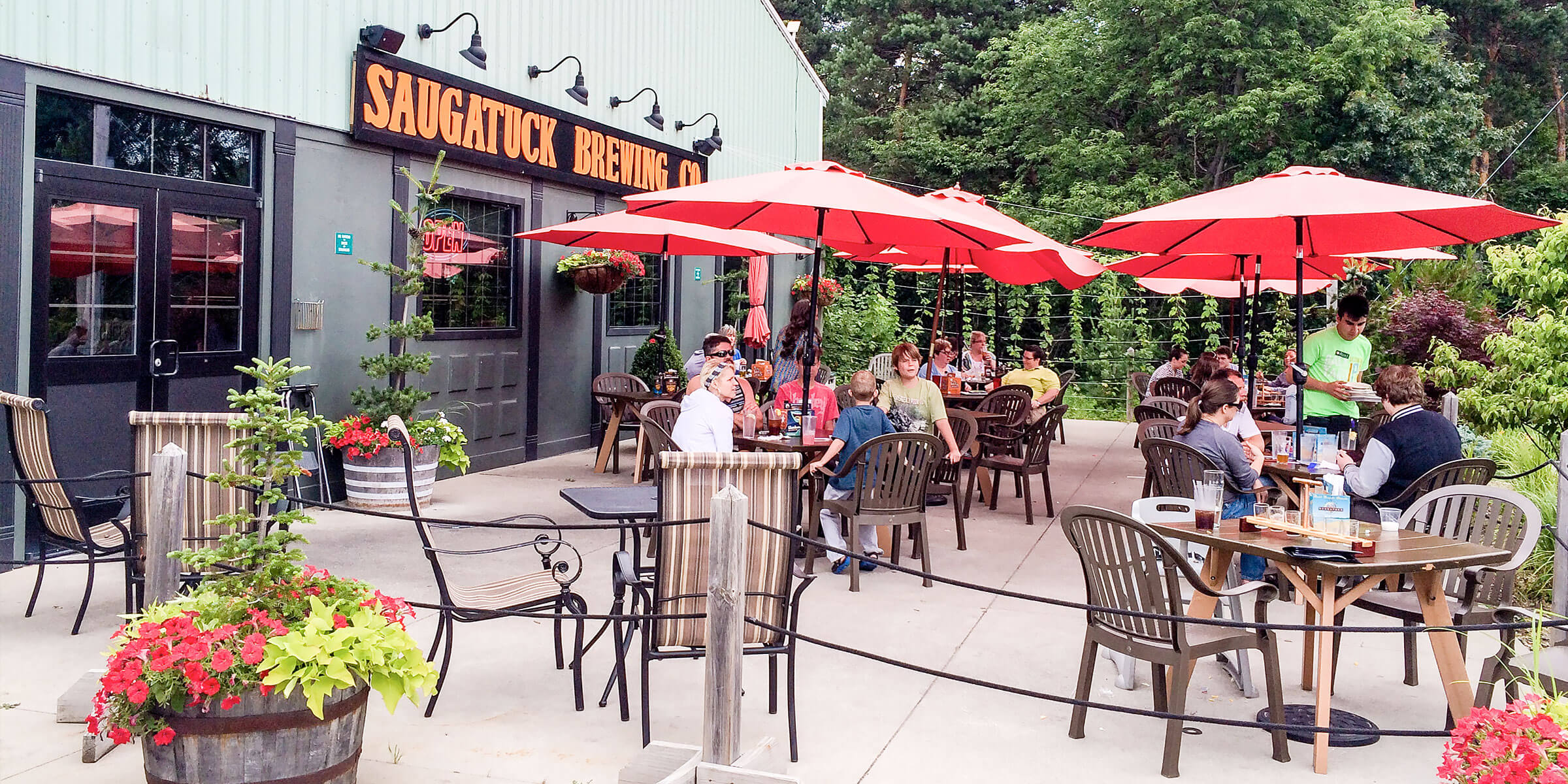 Outside in the patio area of the Saugatuck Brewing Co. location in Douglas, Michigan