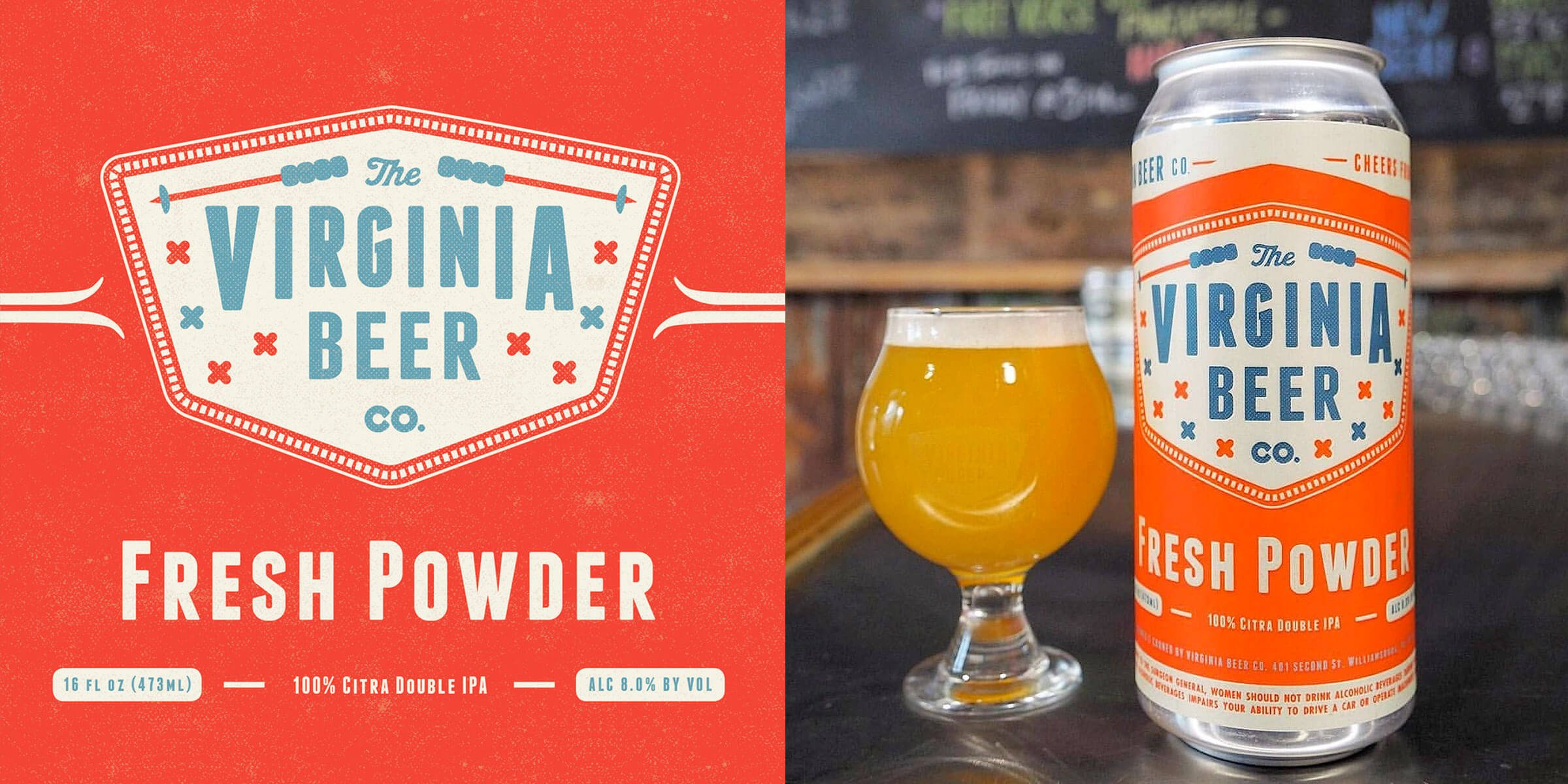 Slopes open every February for the return of Fresh Powder and The Virginia Beer Company is releasing this seasonal 100% Citra Double Dry-Hopped Double IPA.