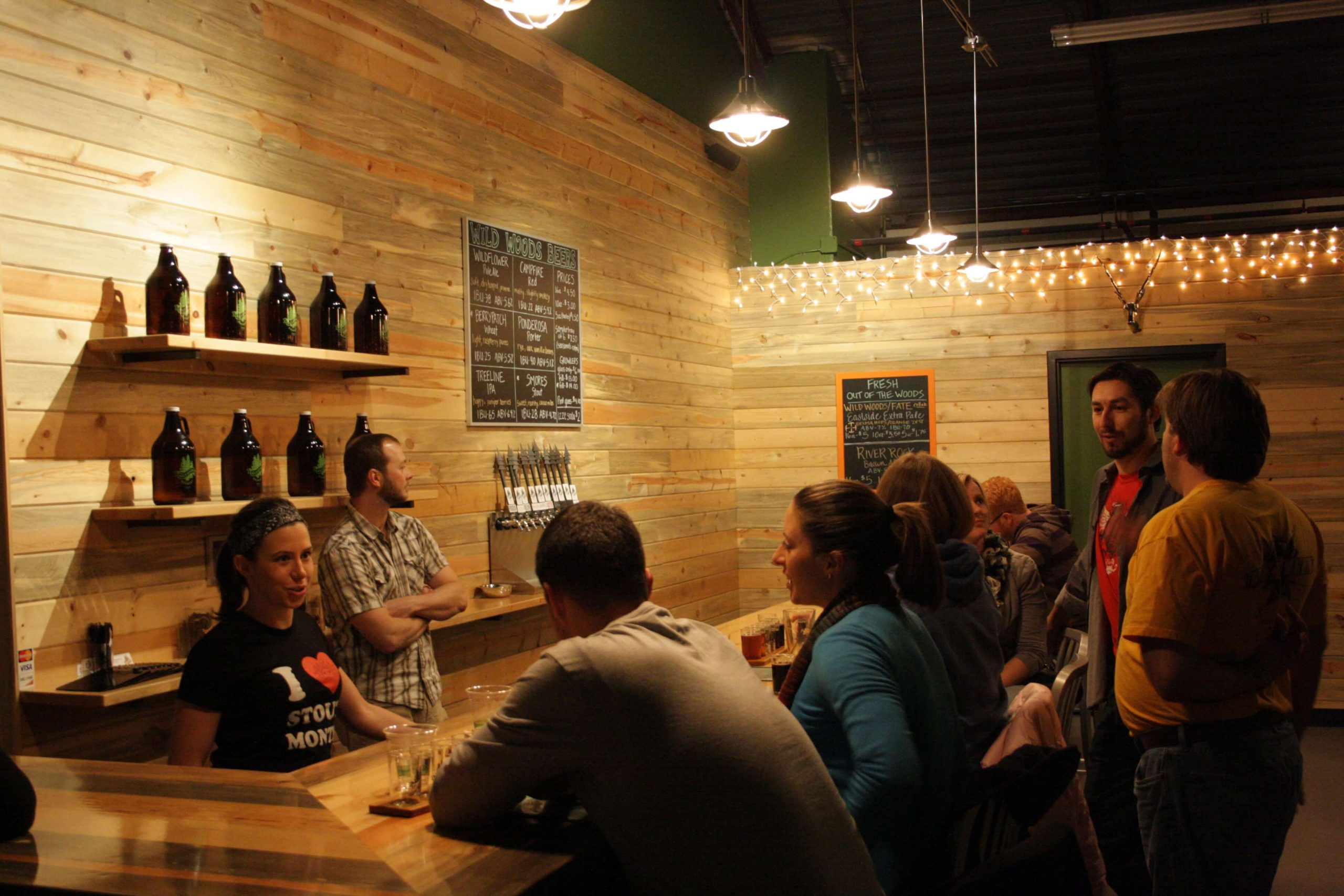 Inside the taproom at Wild Woods Brewery in Boulder, Colorado