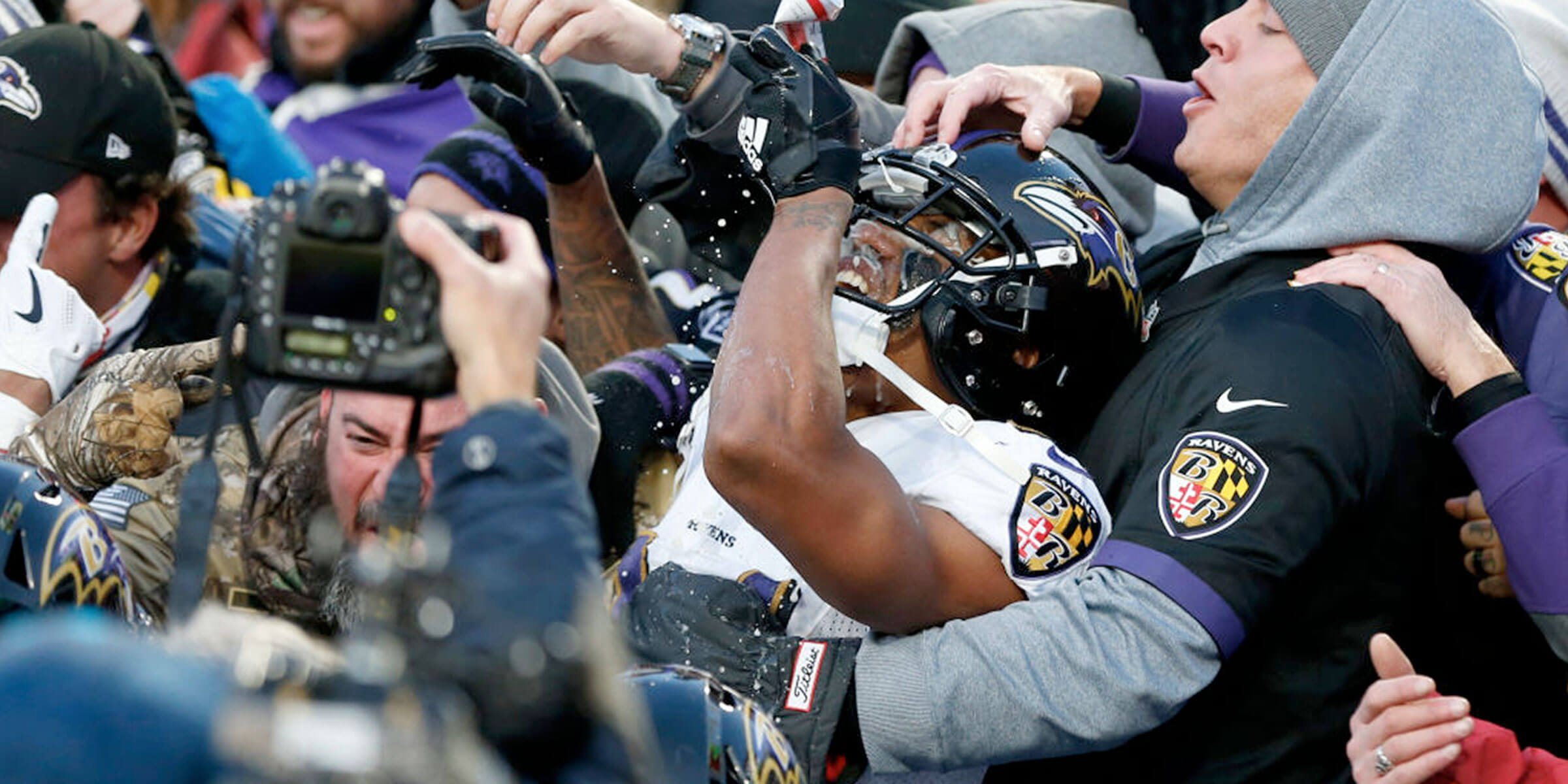 Baltimore Ravens CB Marcus Peters celebrated a game-clinching play by chugging a fan's beer, was fined, and Bud Light matched the tab with a charitable donation.