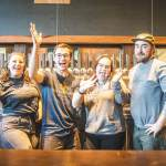 Thumbnail of http://Bartenders%20show%20their%20joy%20in%20the%20taproom%20at%20Fieldwork%20Brewing%20Company%20in%20Corte%20Madera,%20California