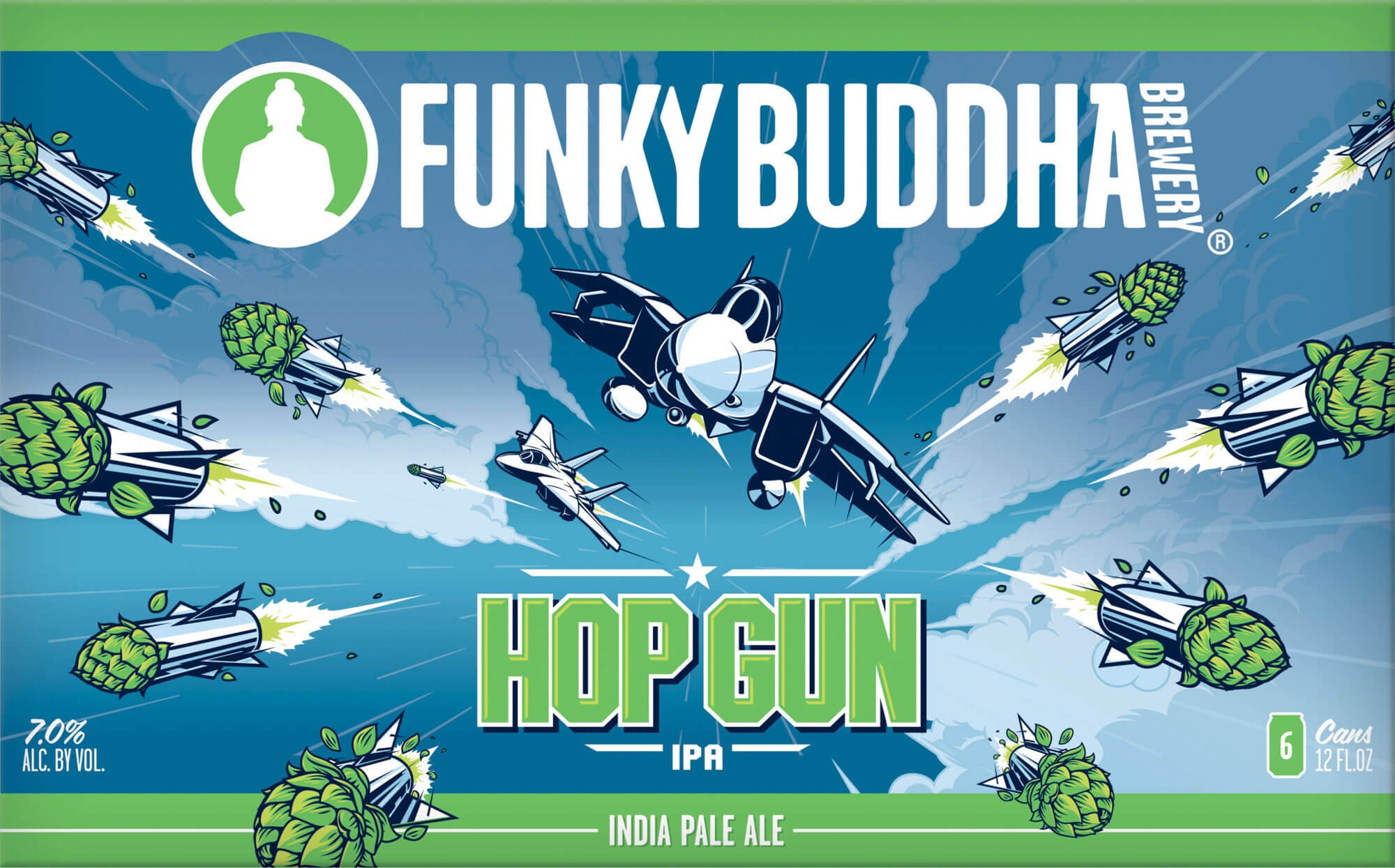 Label art for the Hop Gun IPA by Funky Buddha Brewery