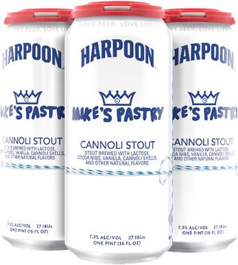 Packaging for four packs of 16 oz. cans of Mike's Pastry Cannoli Stout by Harpoon Brewery and Mike's Pastry