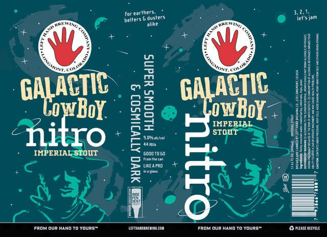 Label design for 13.65 oz. cans of the Galactic Cowboy Nitro Imperial Stout by Left Hand Brewing Company