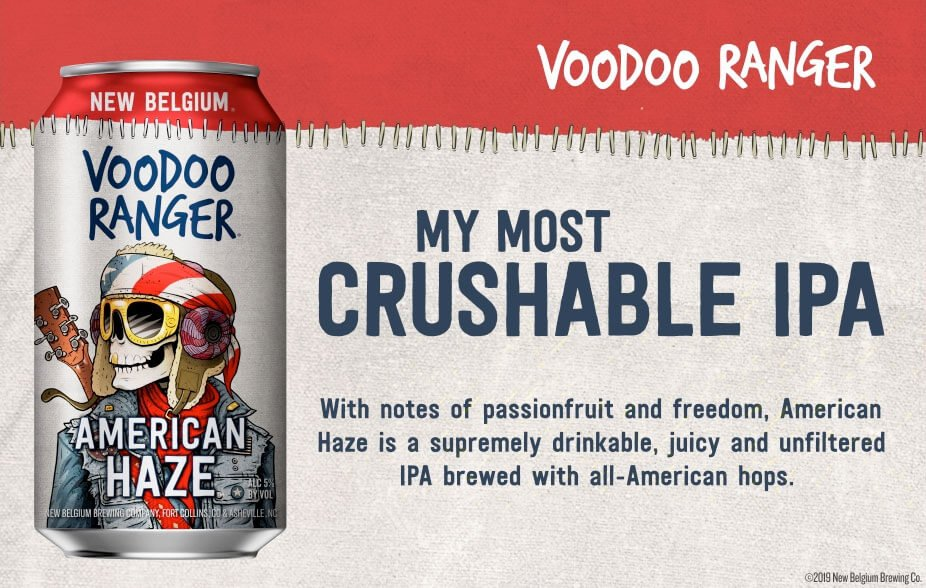 Promo graphic for the Voodoo Ranger American Haze by New Belgium Brewing Company