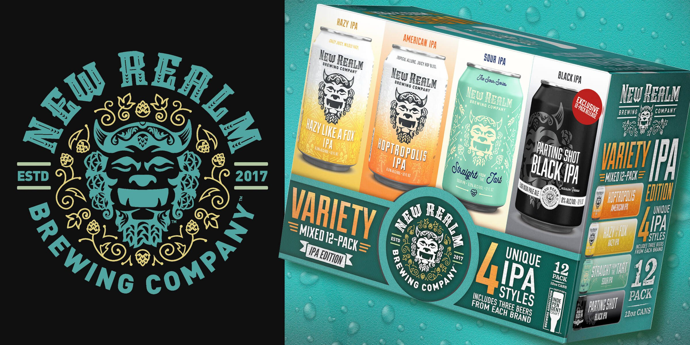 New Realm Brewing Company is introducing its first variety 12 pack — featuring four different IPAs — next month throughout Georgia and most of Virginia.