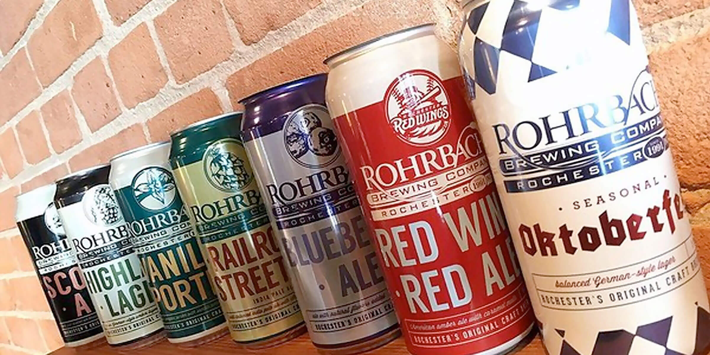 Lineup of canned beers offered by Rohrbach Brewing Company