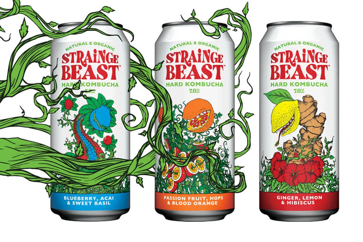 A trio of flavors of Strainge Beast Hard Kombucha from the Chico Fermentation Project, an offshoot of Sierra Nevada Brewing Co.