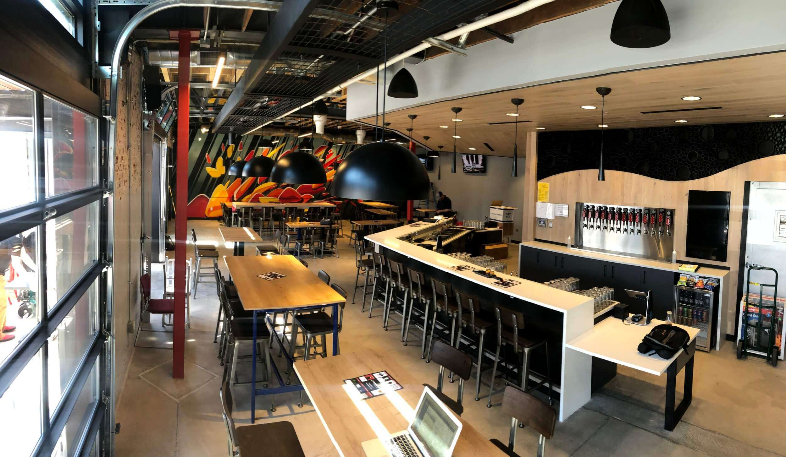 Inside the taproom at The Empourium Brewing Company in Denver, Colorado