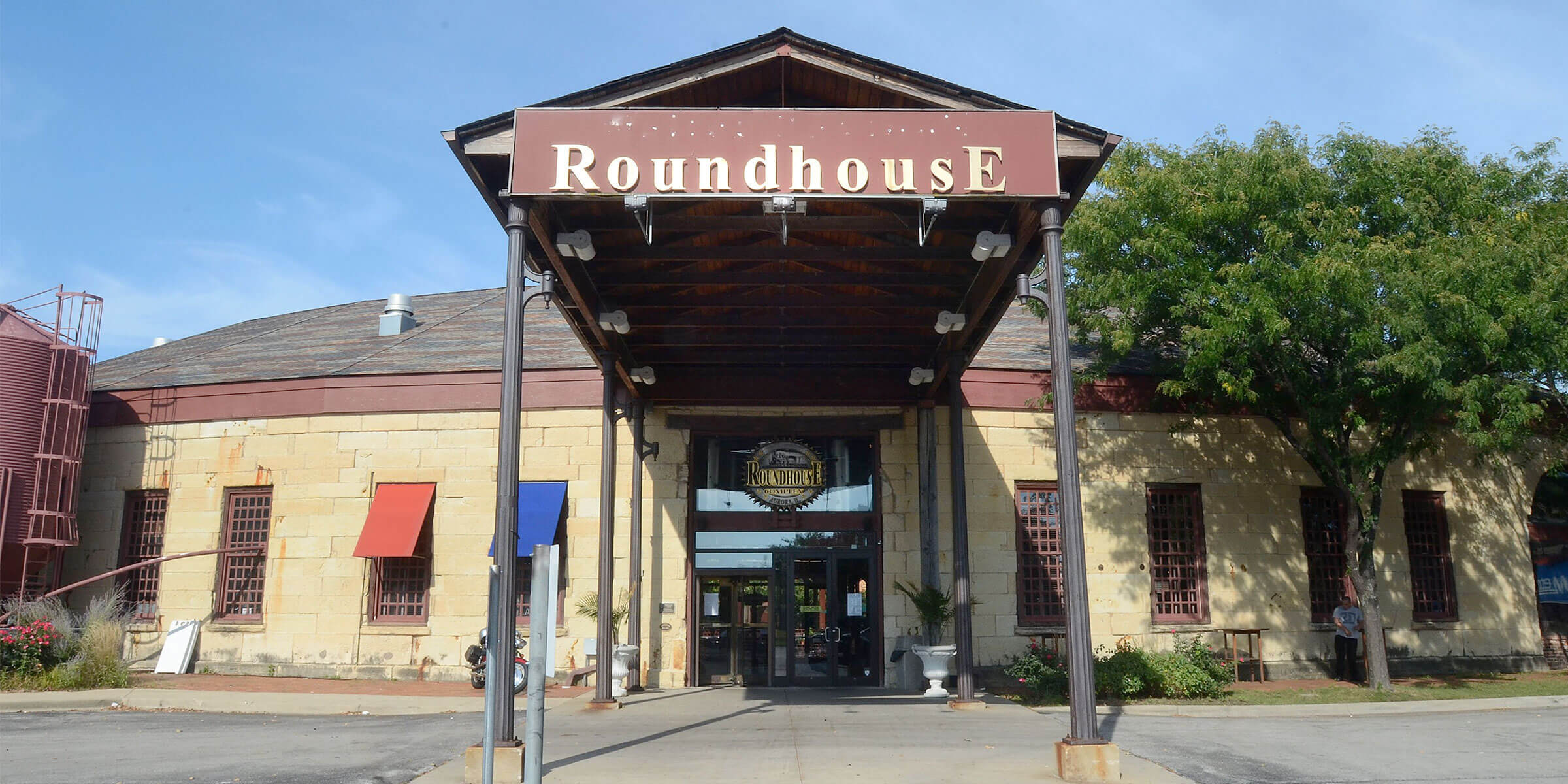 Outside the entrance to Two Brothers Roundhouse dining area in Aurora, Illinois