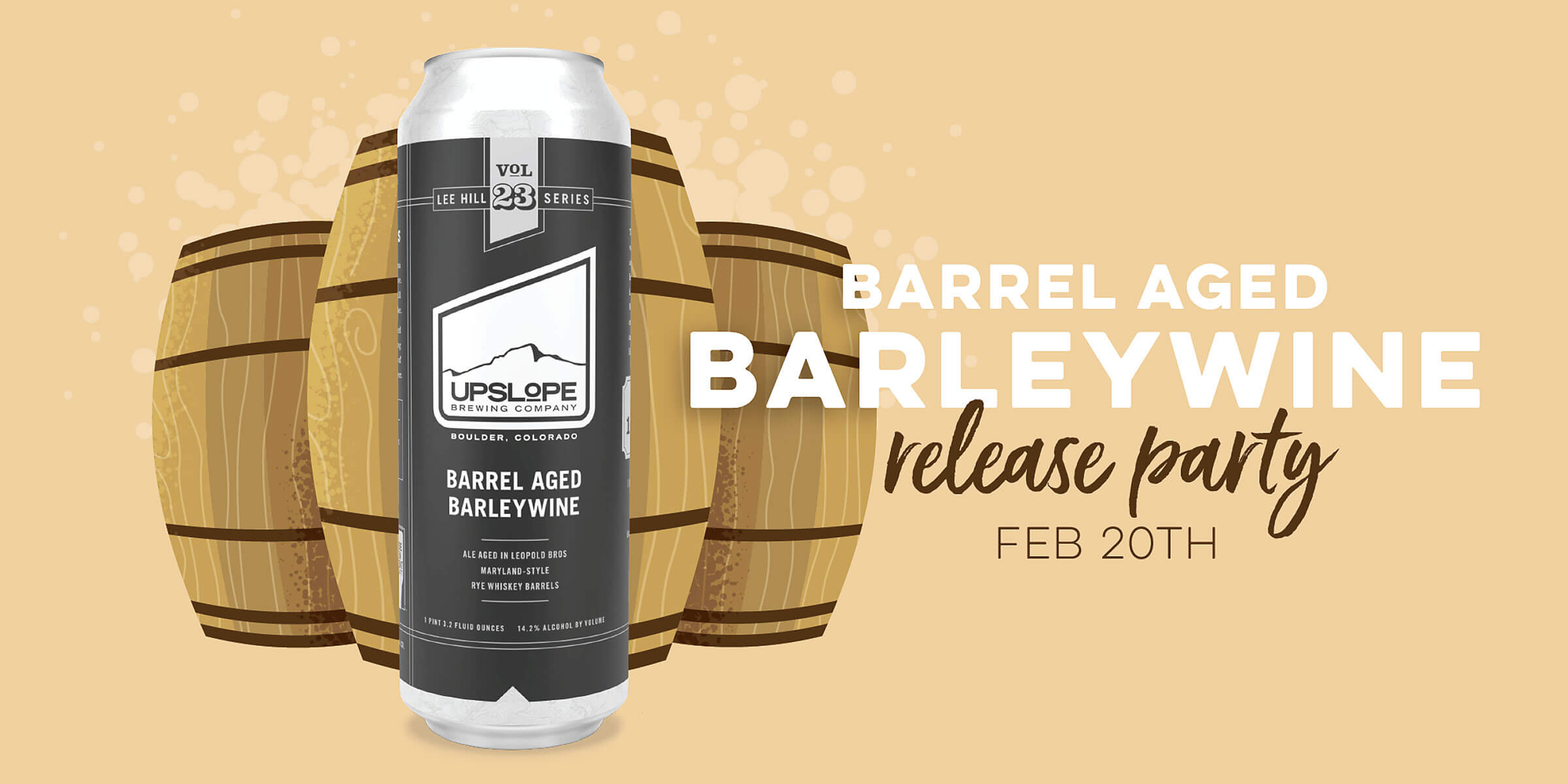 Upslope Brewing Company is releasing Volume 23 of their Lee Hill Series, a Barrel Aged Barleywine, an English-style Barleywine due out on February 20th.