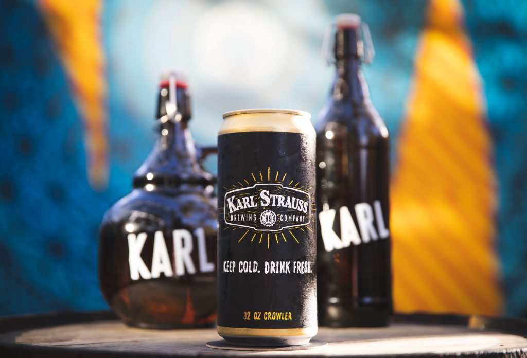 A crowler and a pair of growlers from Karl Strauss Brewing Company