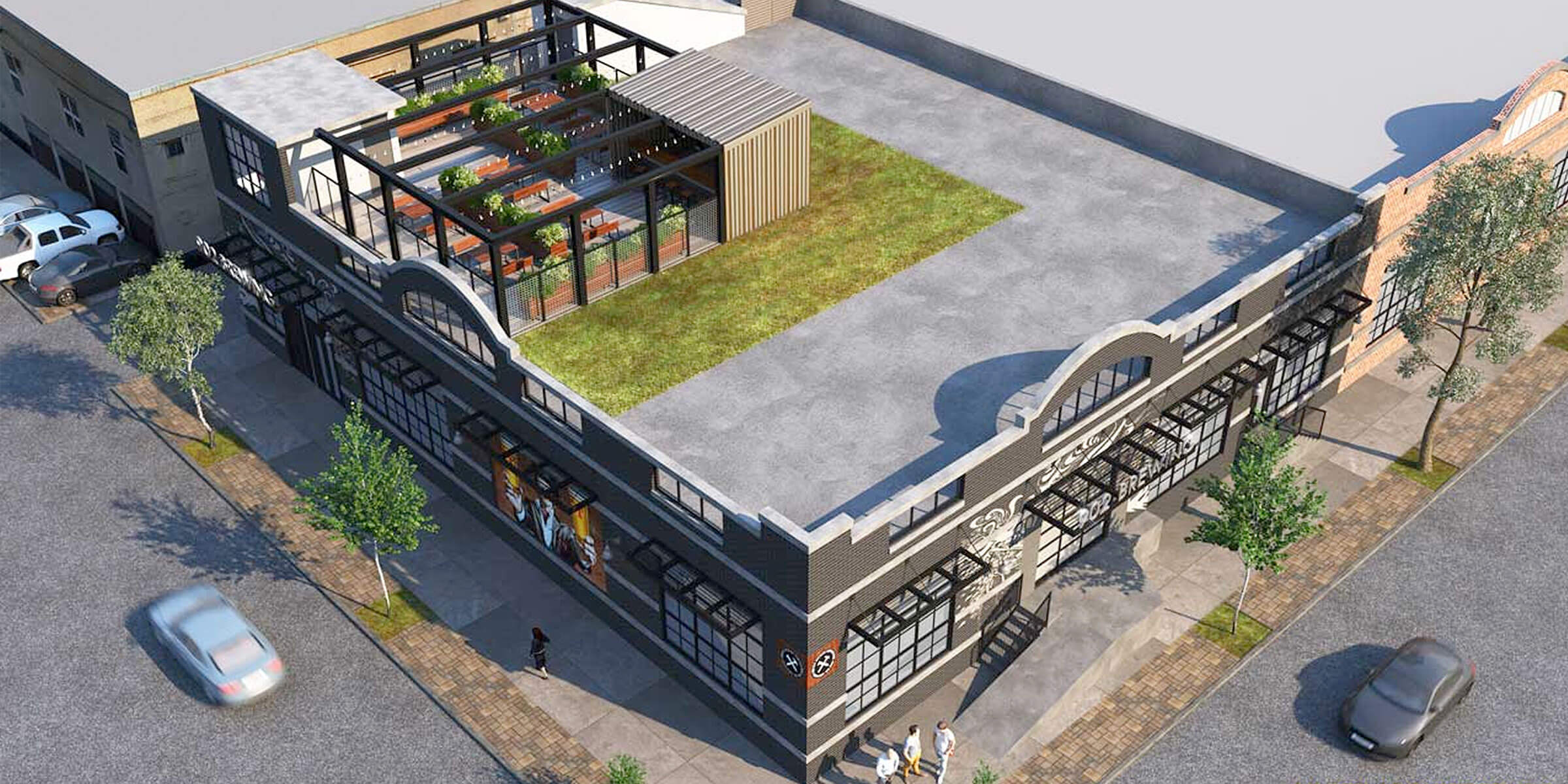 Architectural rendering of the 902 Brewing Company rooftop in Jersey City, New Jersey