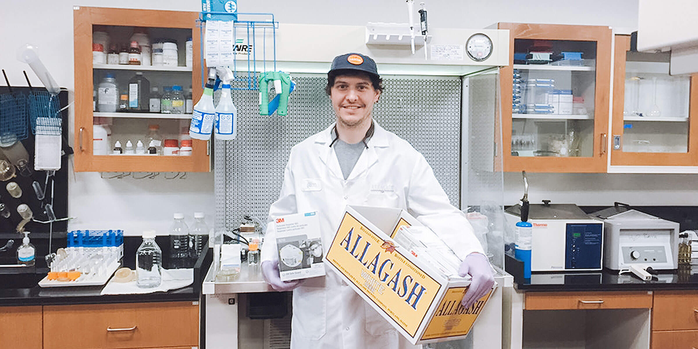 Allagash Brewing Company's staff discovered extra safety masks, which the brewery donated to the Barbara Bush Children's Hospital at Maine Medical Center.