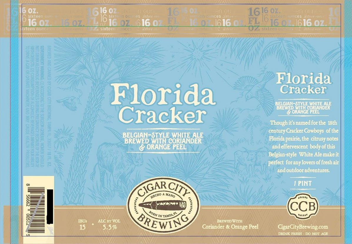 Label art for the Florida Cracker by Cigar City Brewing