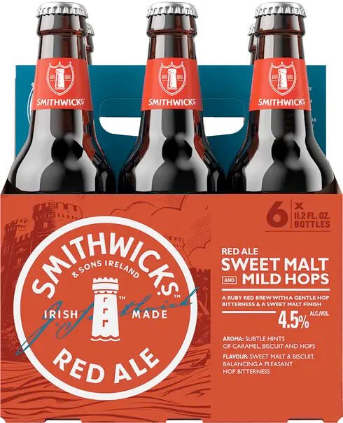 Packaging art for the Smithwick's Red Ale by Guinness Ltd.