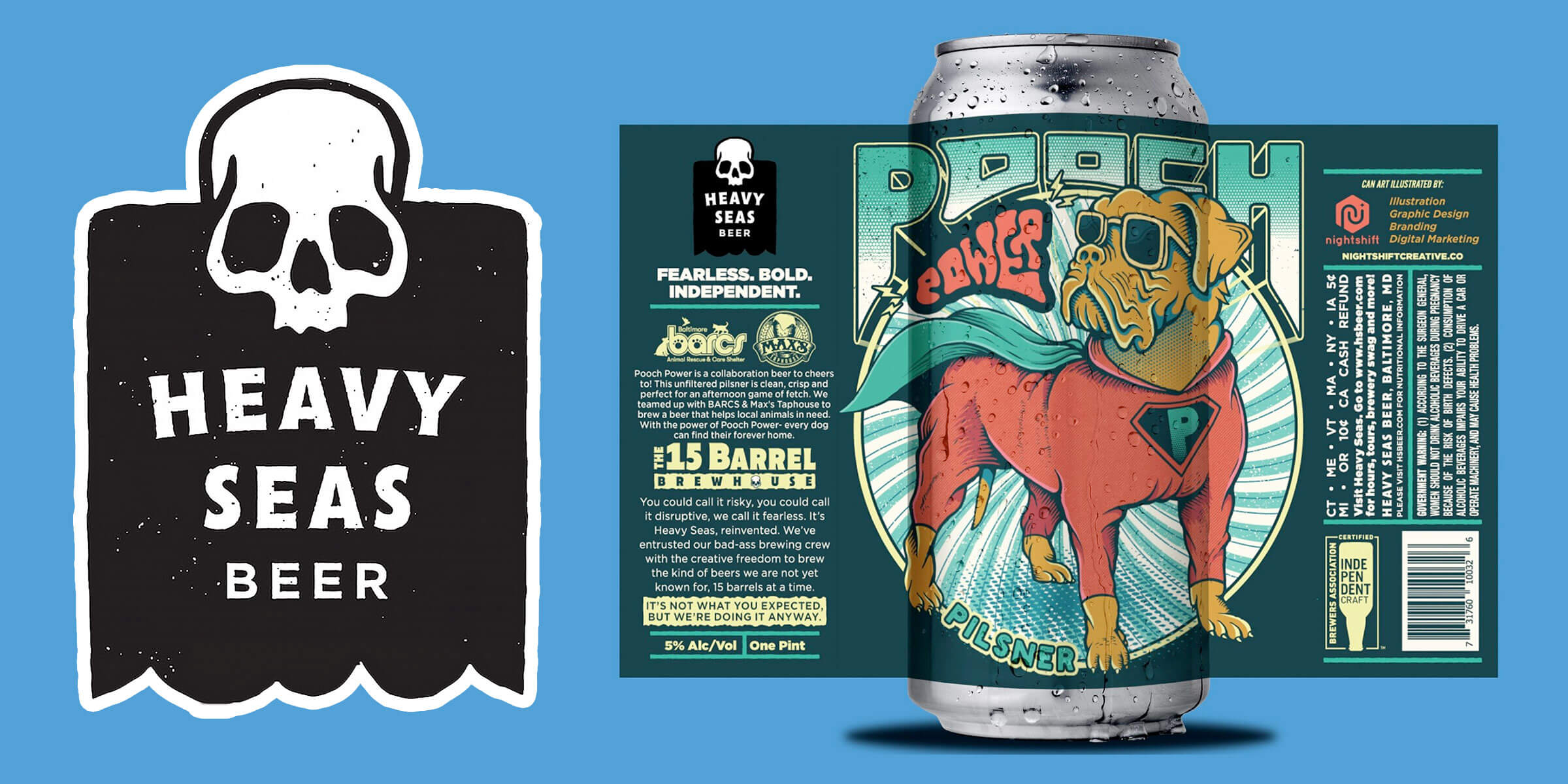 Heavy Seas Beer announced a new release from its 15 Barrel Brewhouse, Pooch Power, an unfiltered Pilsner, and a Pups & Pints event benefiting the BARCS animal shelter.