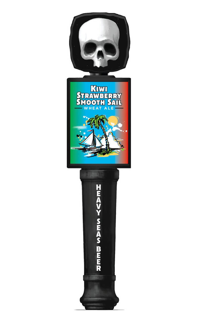 Tap handle for the Kiwi Strawberry Smooth Sail by Heavy Seas Beer