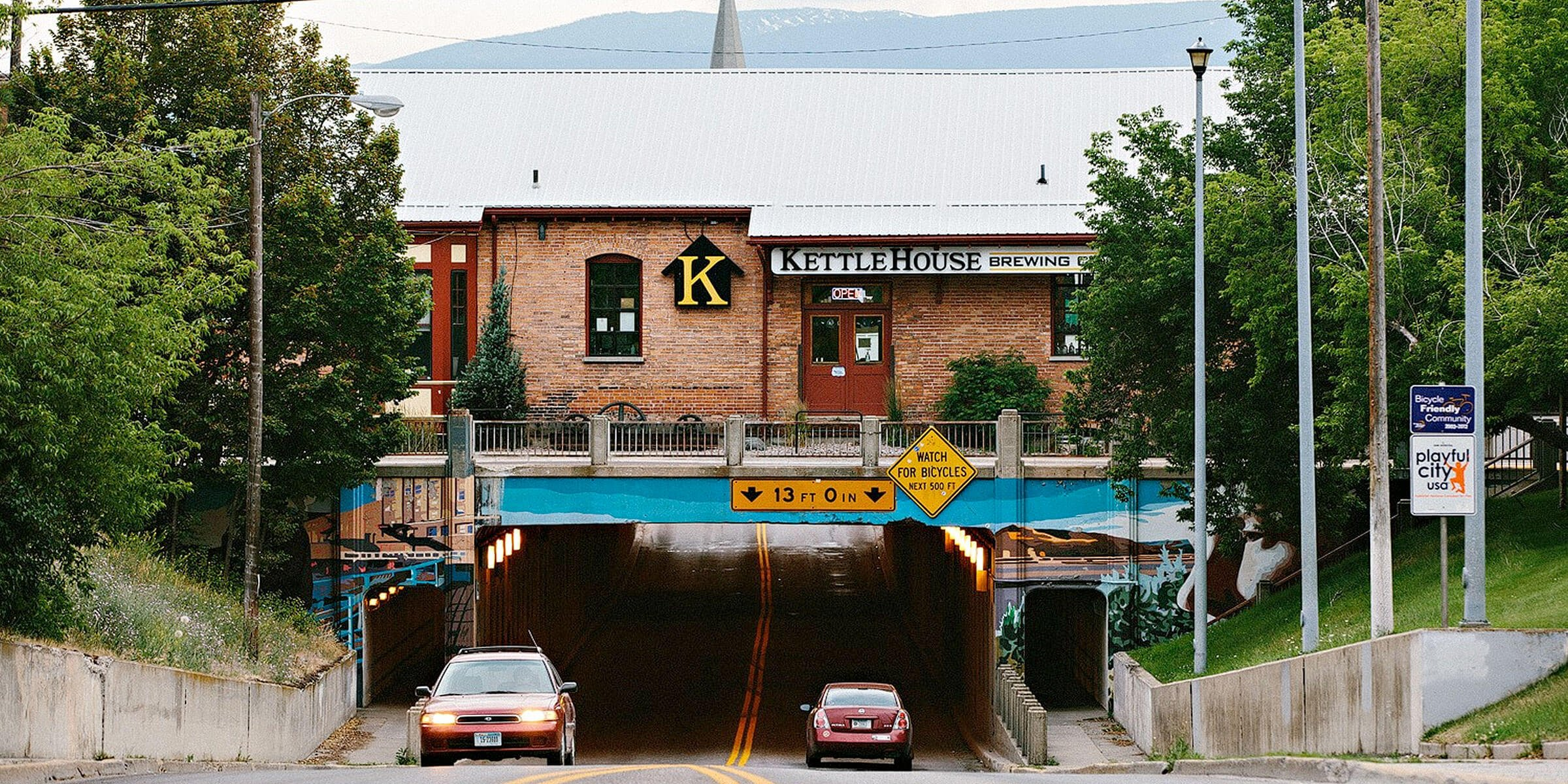 Outside the Northside Brewery location of KettleHouse Brewing Co. in Missoula, Montana