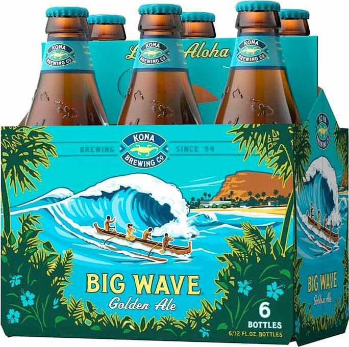 Packaging art for the Big Wave Golden Ale by Kona Brewing Co.