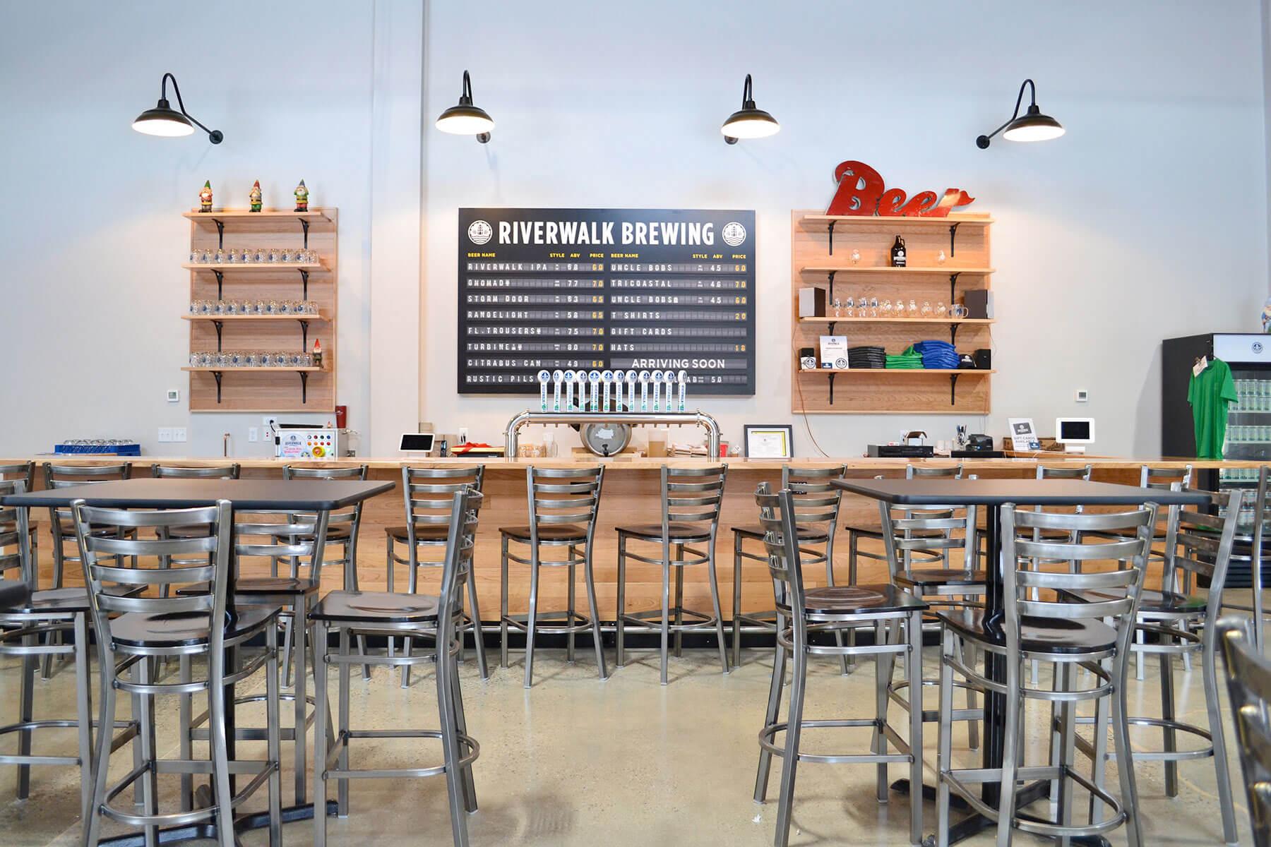 Inside the taproom at Riverwalk Brewing Co. in Newburyport, Massachusetts