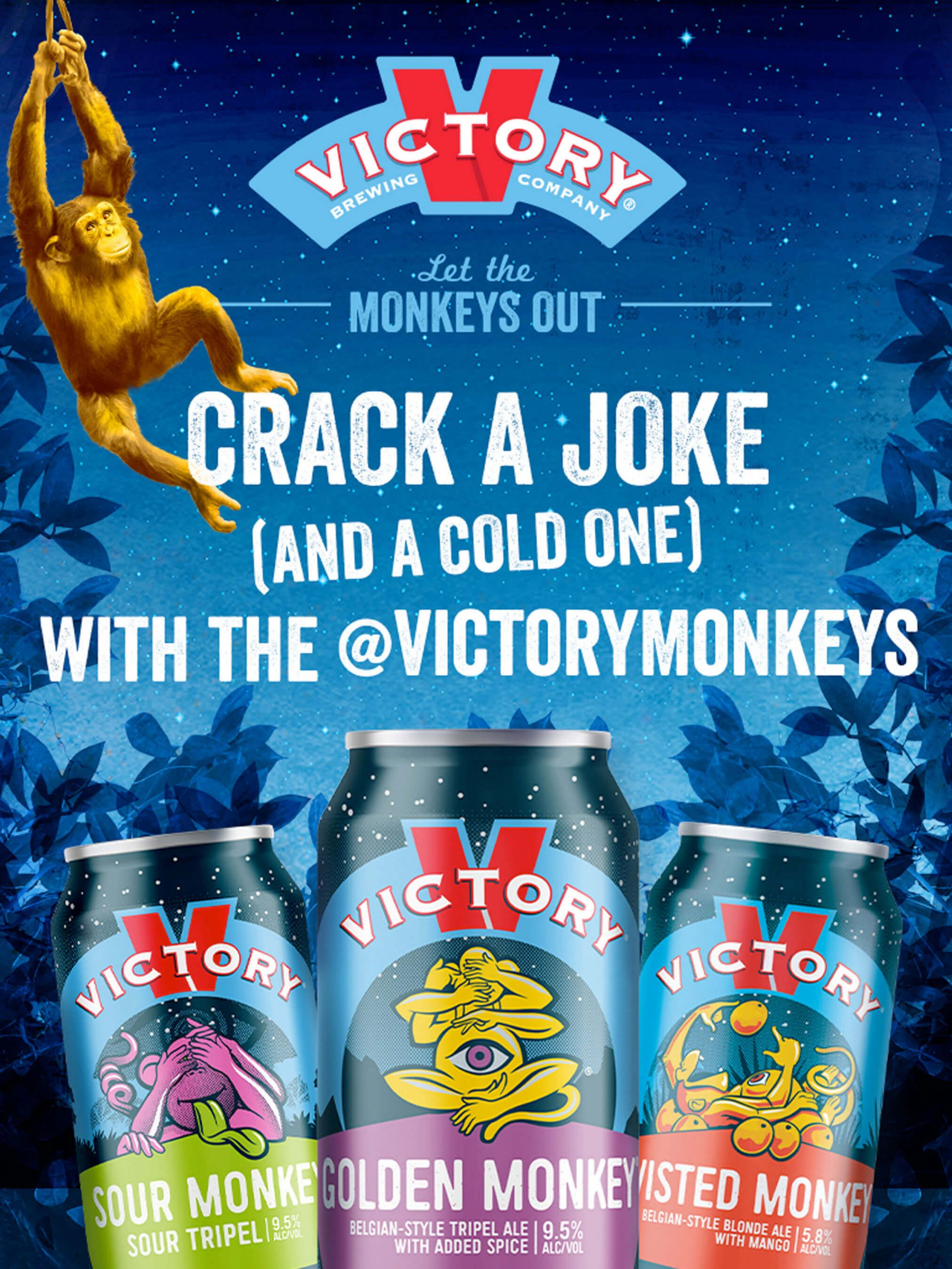 Poster promoting the Let the Monkeys Out marketing campaign by Victory Brewing Company