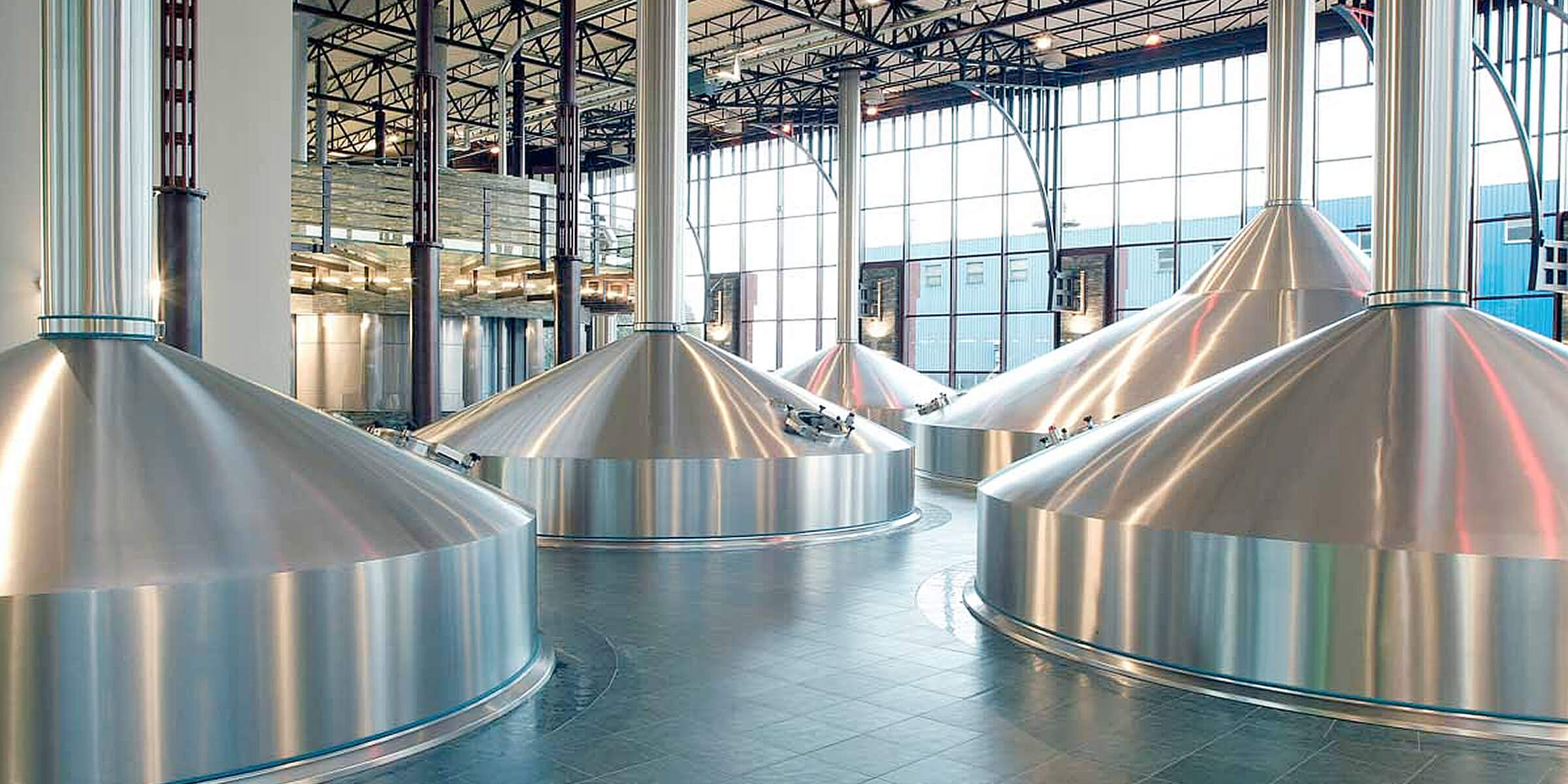 Tanks in a large brewhouse