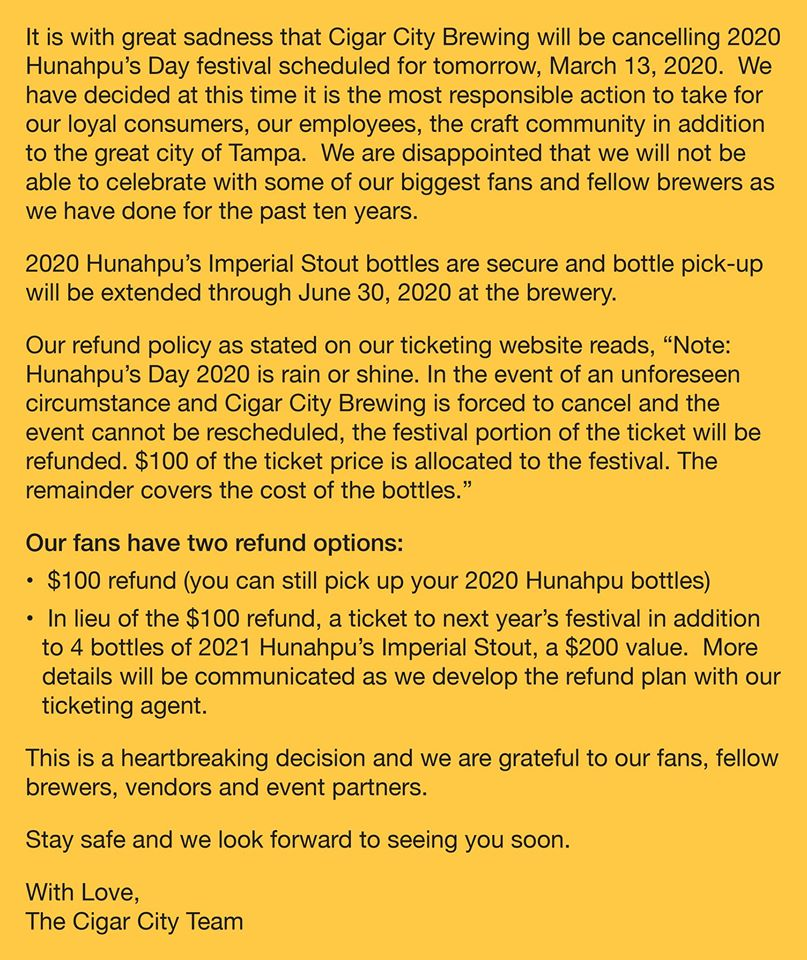 Letter from Cigar City Brewing regarding the cancellation of Hunahpu's Day festival