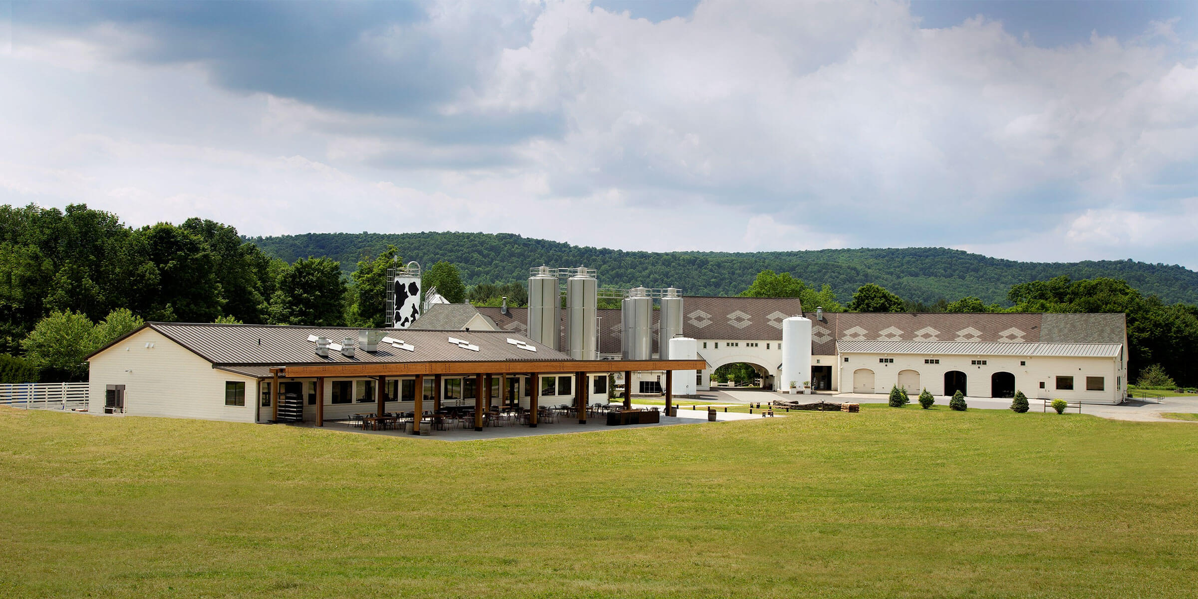 Outside Brewery Ommegang in Cooperstown, New York