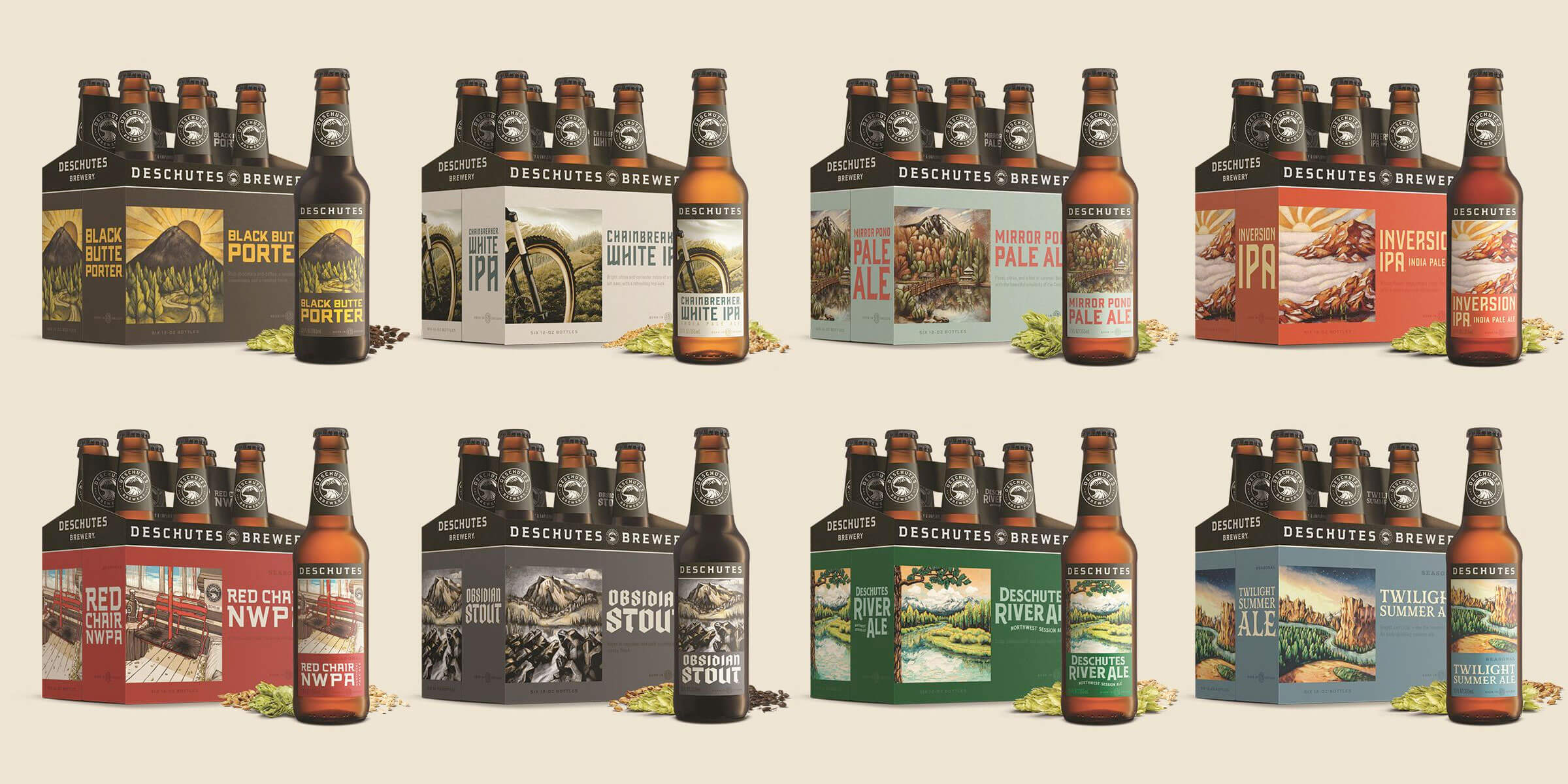 Six packs of bottled beers by Deschutes Brewery