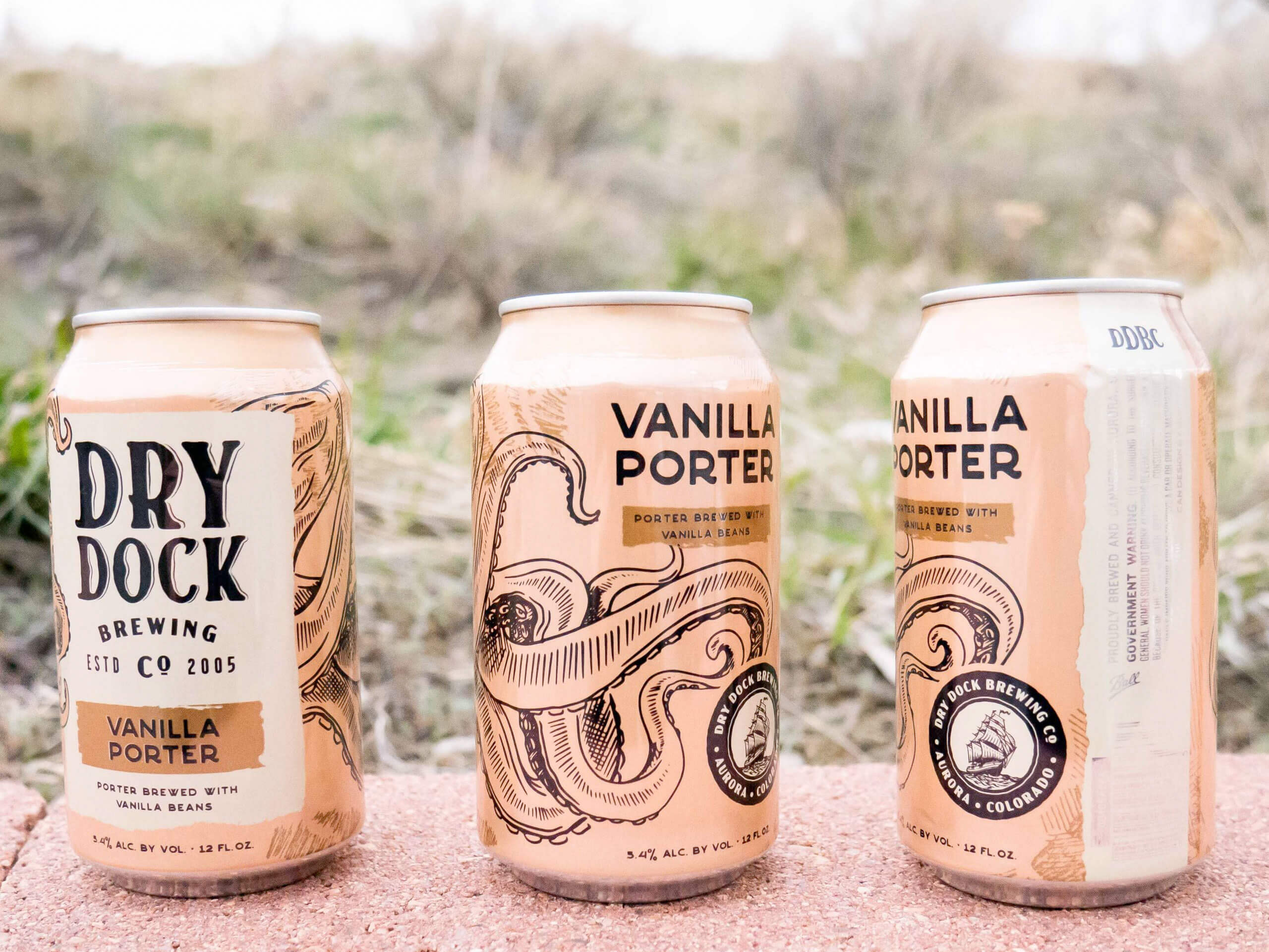 Redesigned cans of the Vanilla Porter by Dry Dock Brewing Company