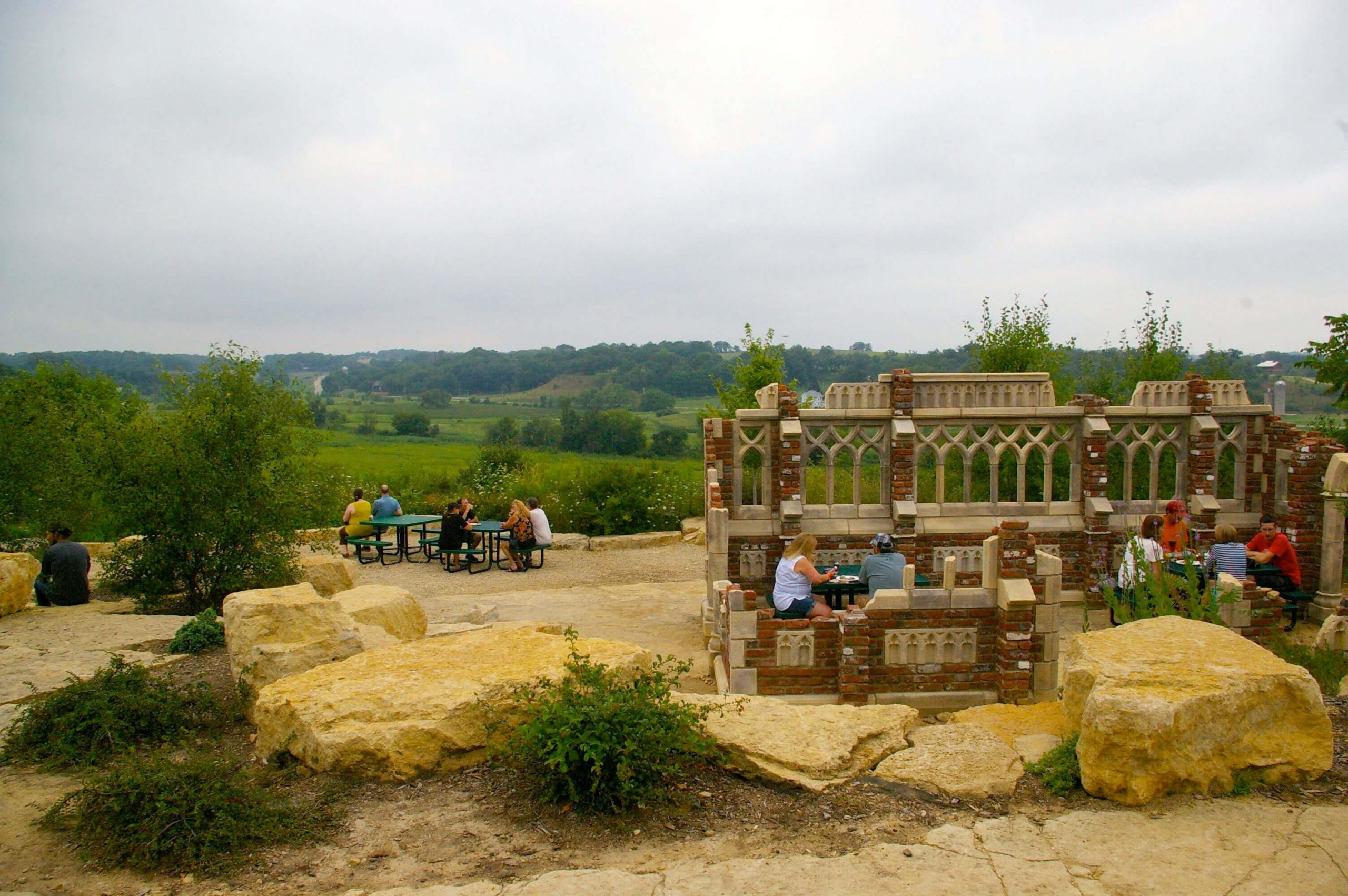 Outside in the patio area and ruins of New Glarus Brewing Company in New Glarus, Wisconsin