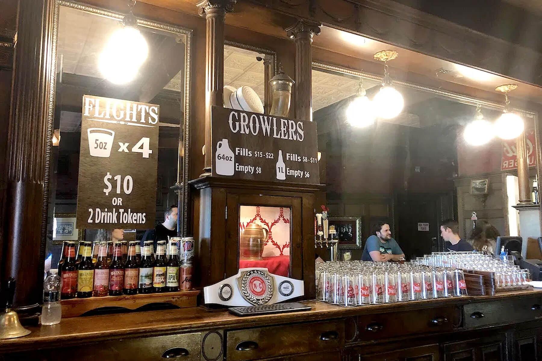 Inside the tasting room at Saranac Brewery (F.X. Matt Brewing Co.) in Utica, New York
