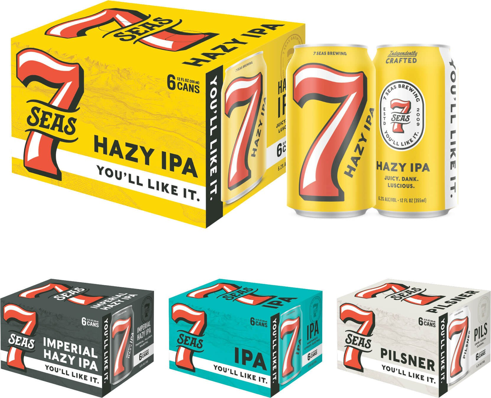 The packaging redesign for six pack cartons of the core lineup by 7 Seas Brewing
