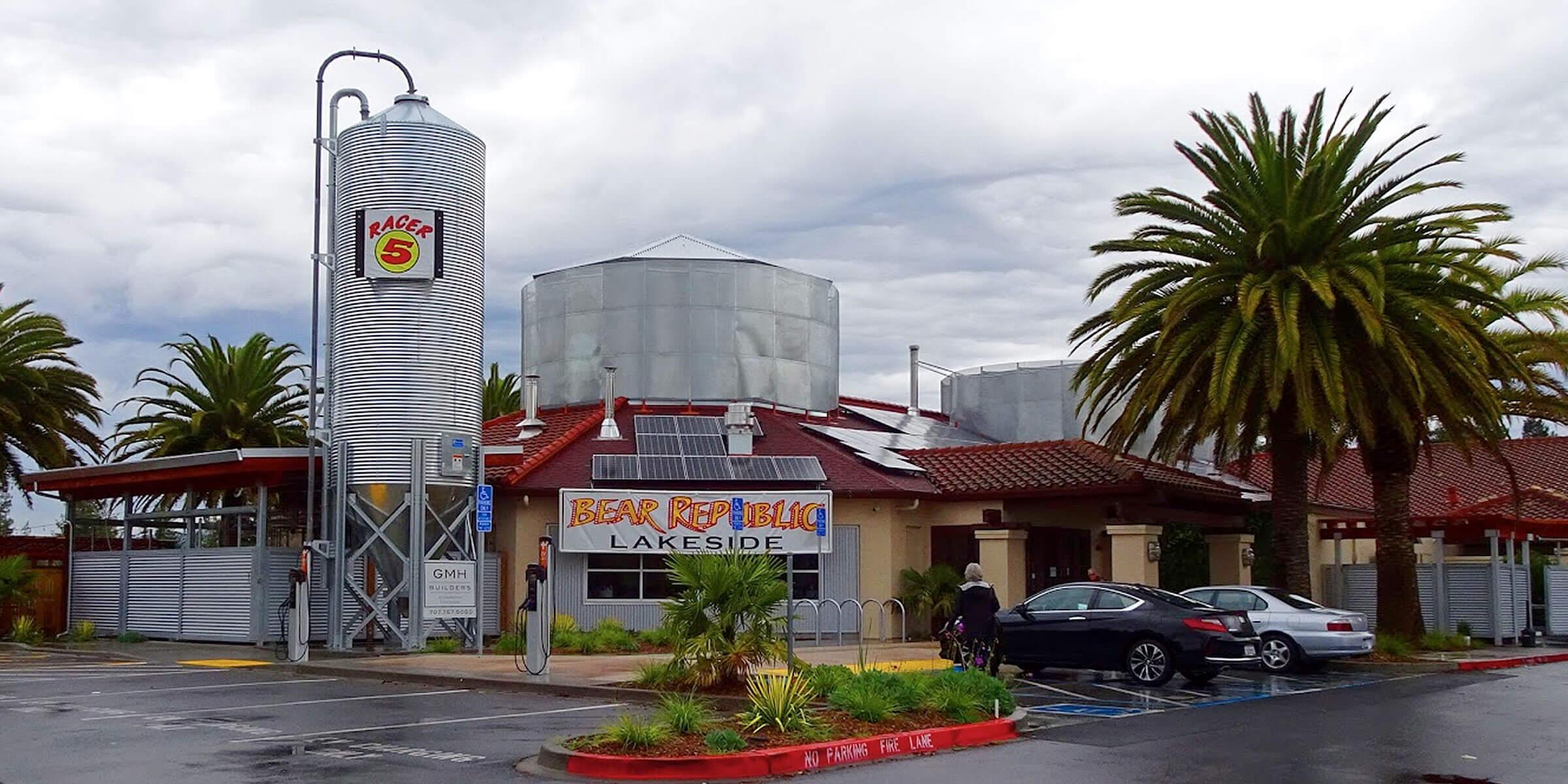 Outside the Bear Republic Brewing Company Pub & Restaurant in Rohnert Park, California