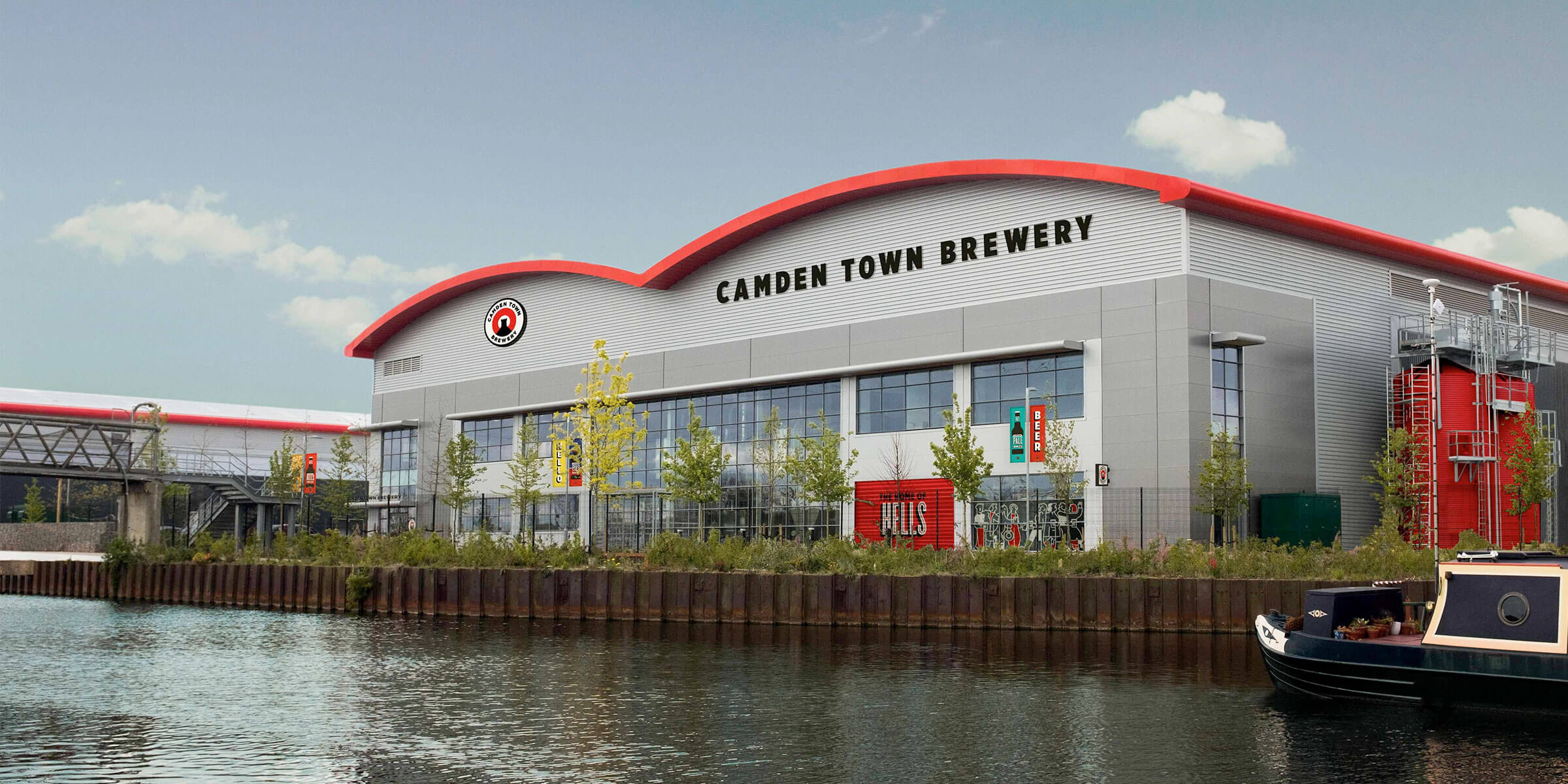 Outside the Camden Town Brewery production facility in Enfield, United Kingdom