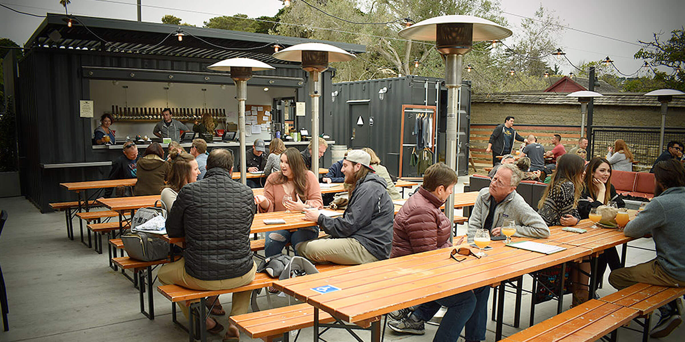 Outside in the beer garden at the Fieldwork Brewing Company location in Monterey, California