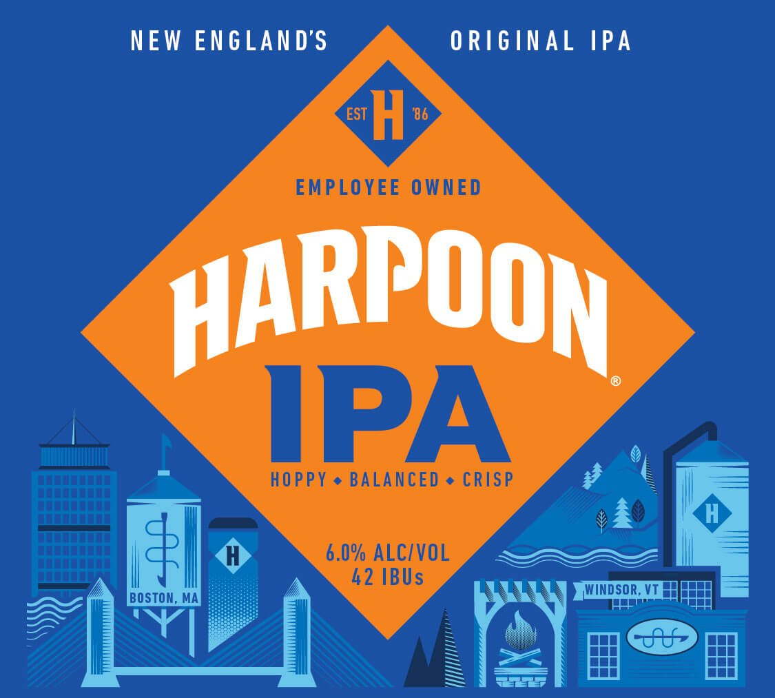 Label design for 12 oz. bottles of the Harpoon IPA by Harpoon Brewery