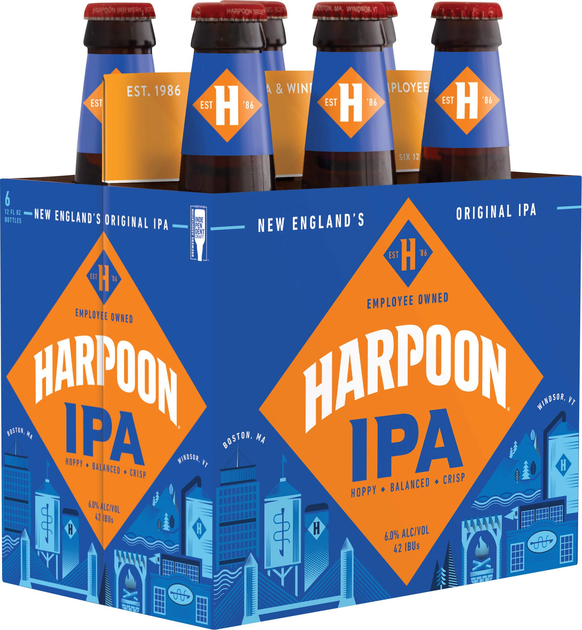 Packaging design for six packs of 12 oz. bottles of the Harpoon IPA by Harpoon Brewery