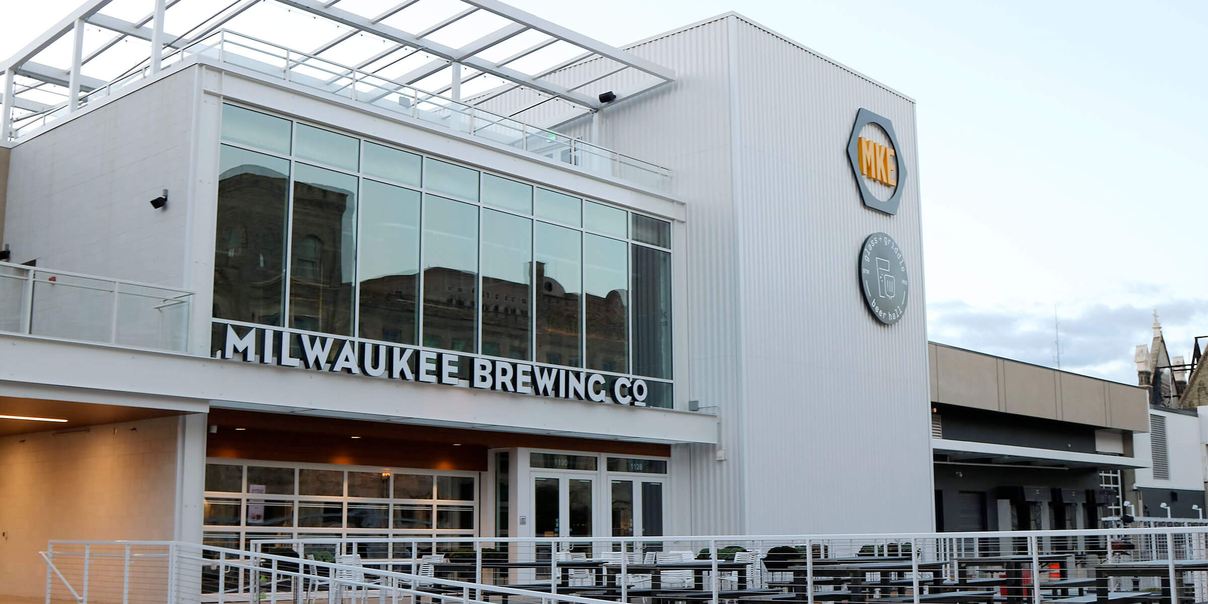 Outside the entrance to the MKE 9th Street location of Milwaukee Brewing Company in Milwaukee, Wisconsin