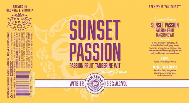 Label design for 12 oz. cans of the Sunset Passion by New Realm Brewing Company