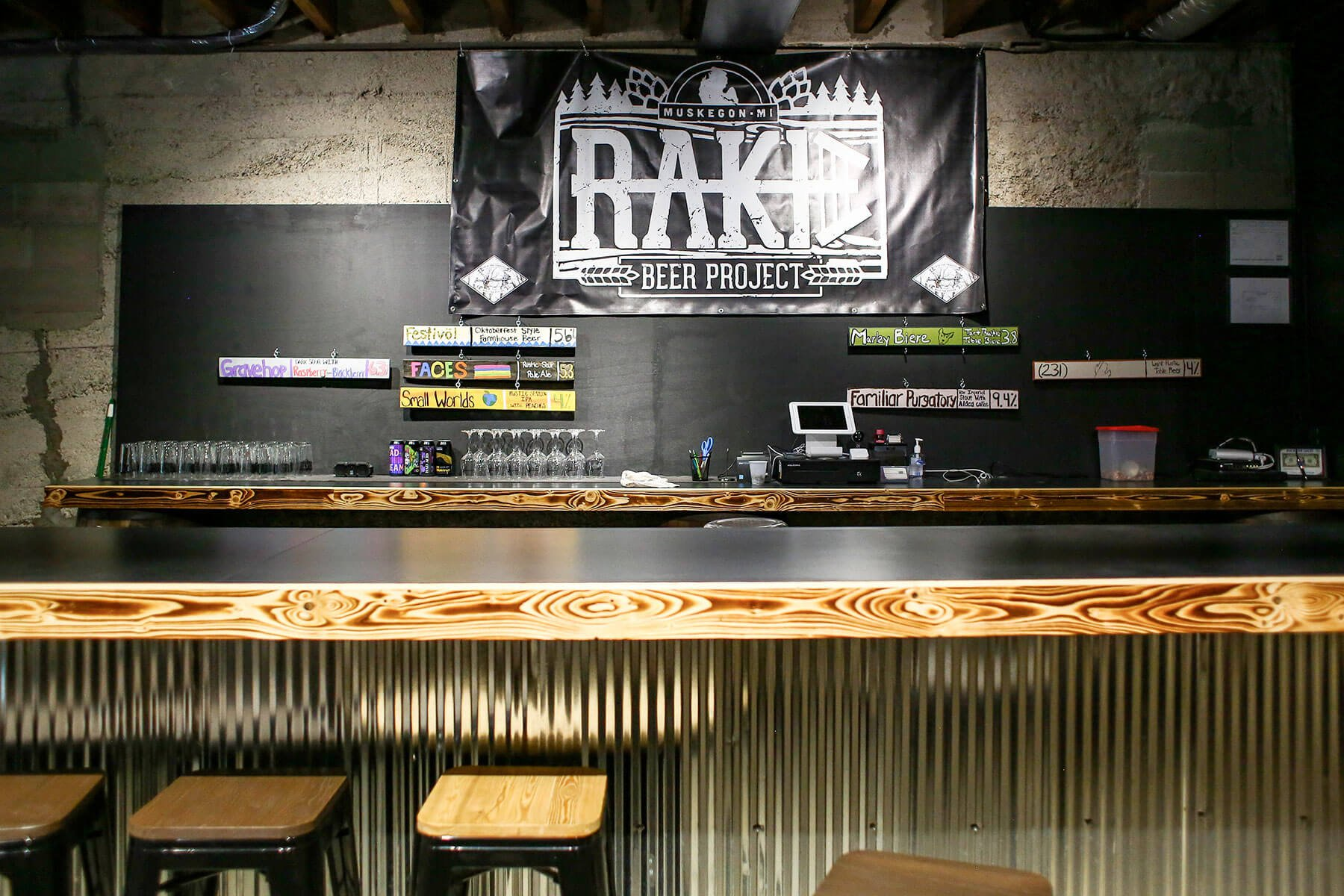 Inside the taproom at Rake Beer Project in Muskegon, Michigan