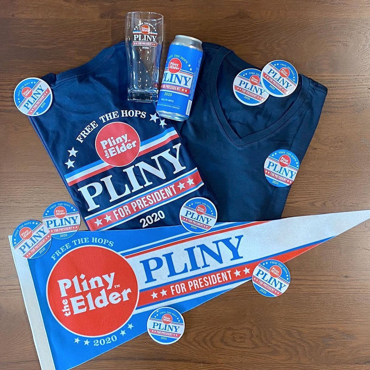 Pliny for President tie-in swag also available for purchase from Russian River Brewing Company