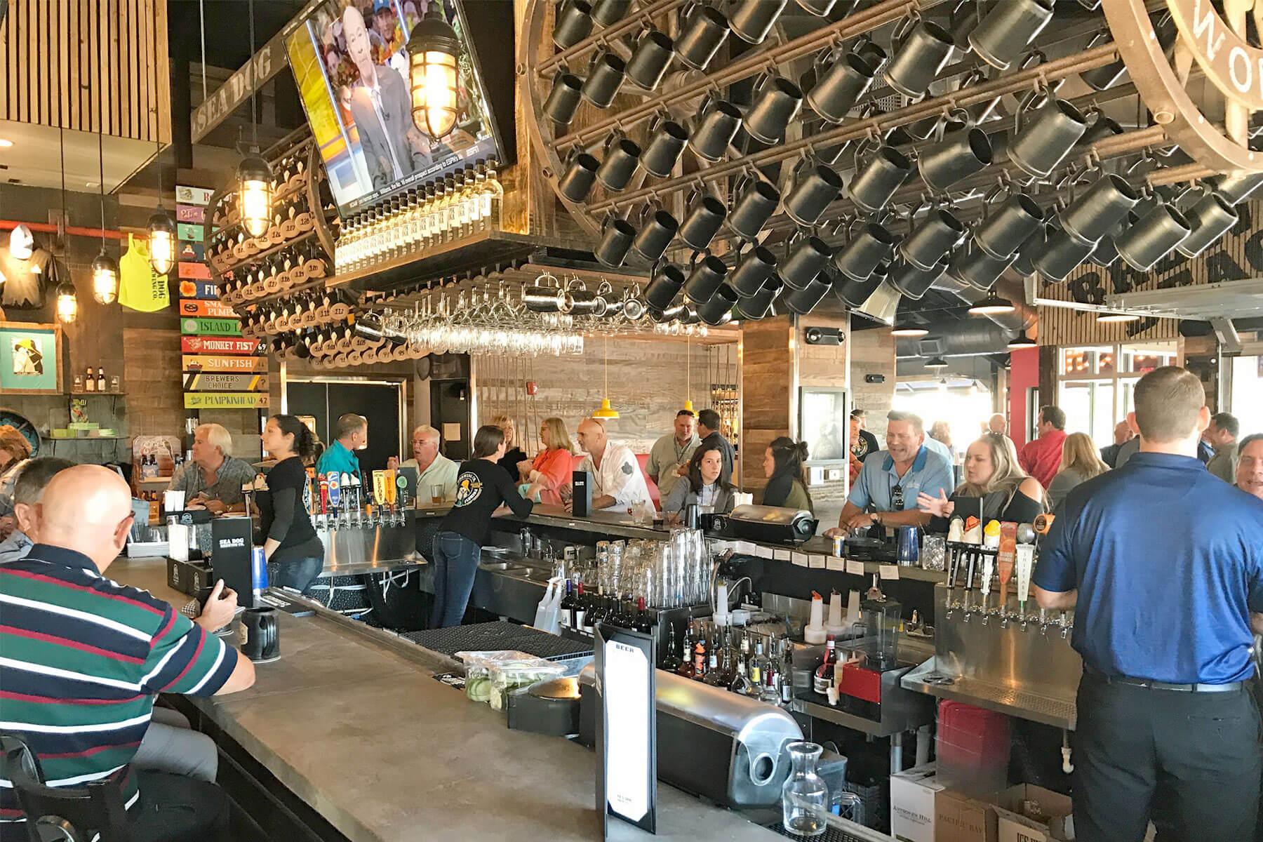 Inside the brewpub at Sea Dog Brewing Co. in Treasure, Island, Florida