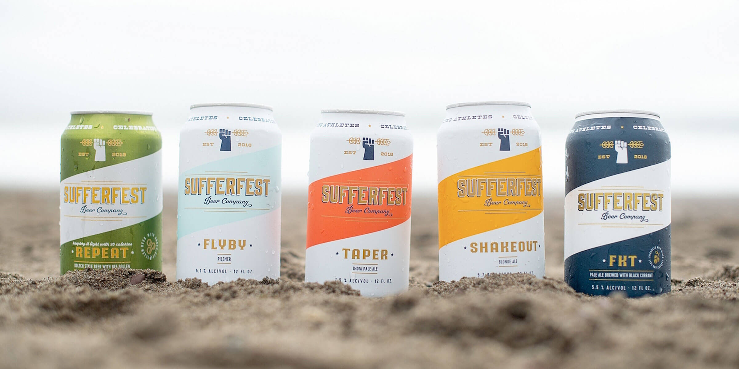 Lineup of canned beers offered by Sufferfest Beer Company